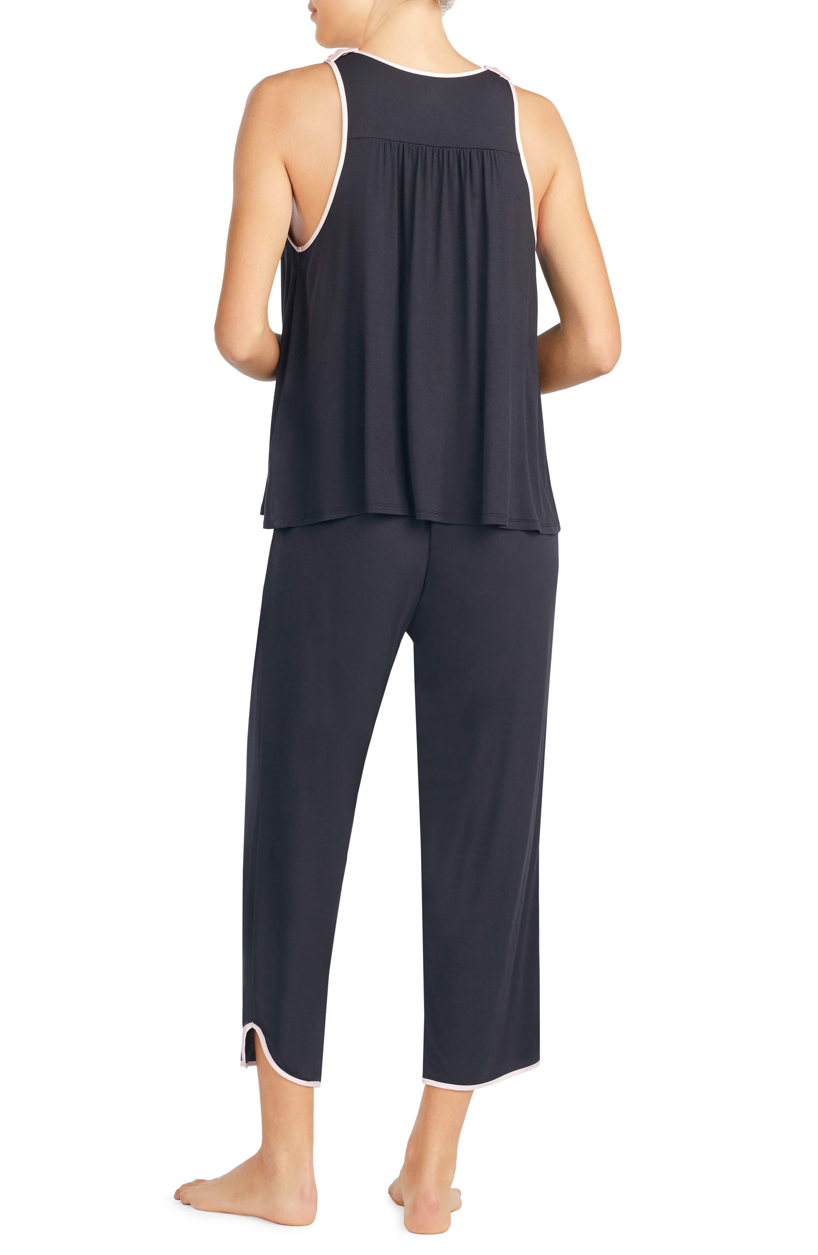 crop jersey pajamas,                             Alternate thumbnail 2, color,                             Black