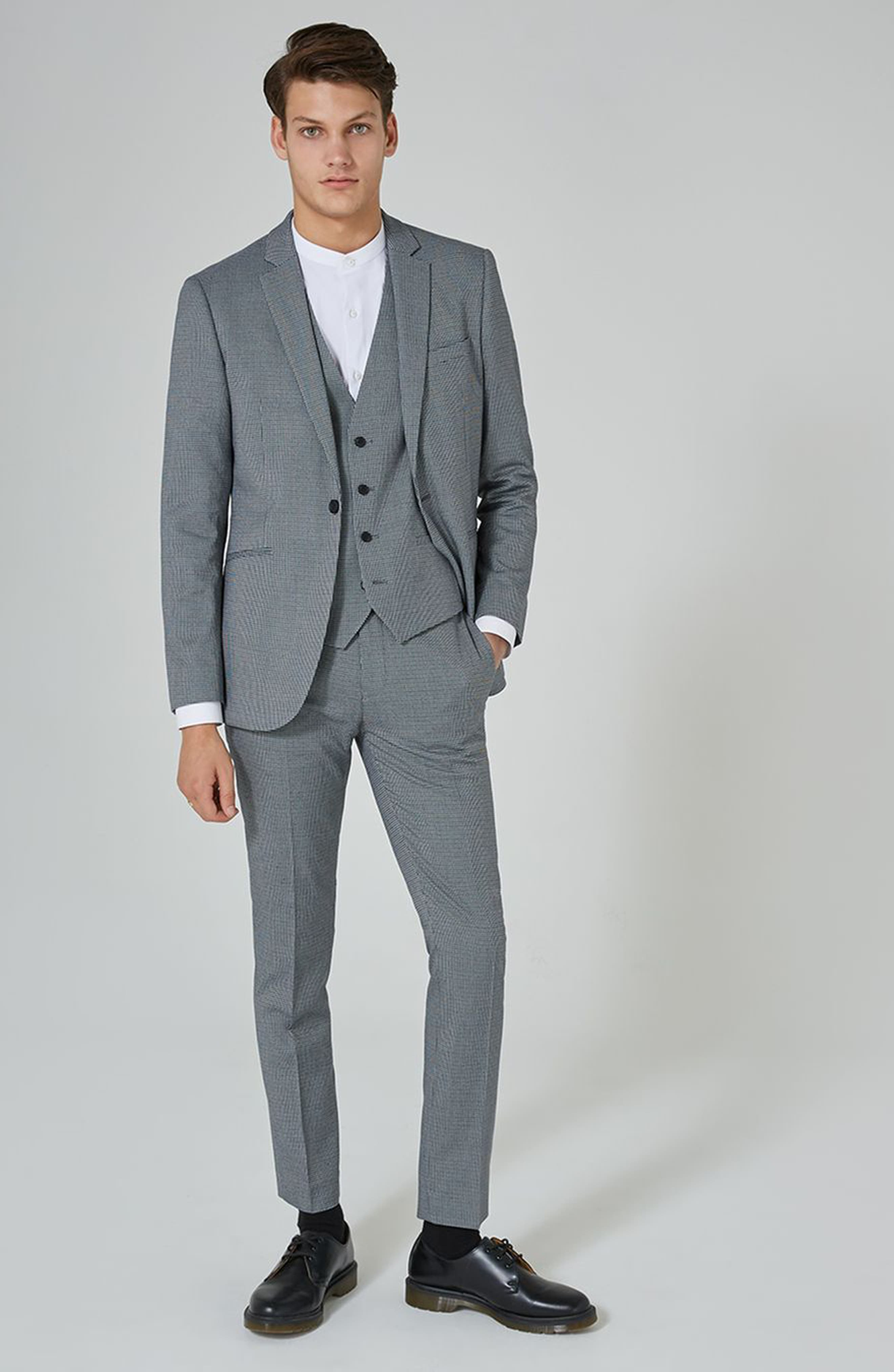 Alternate Image 2  - Topman Skinny Fit Houndstooth Suit Trousers