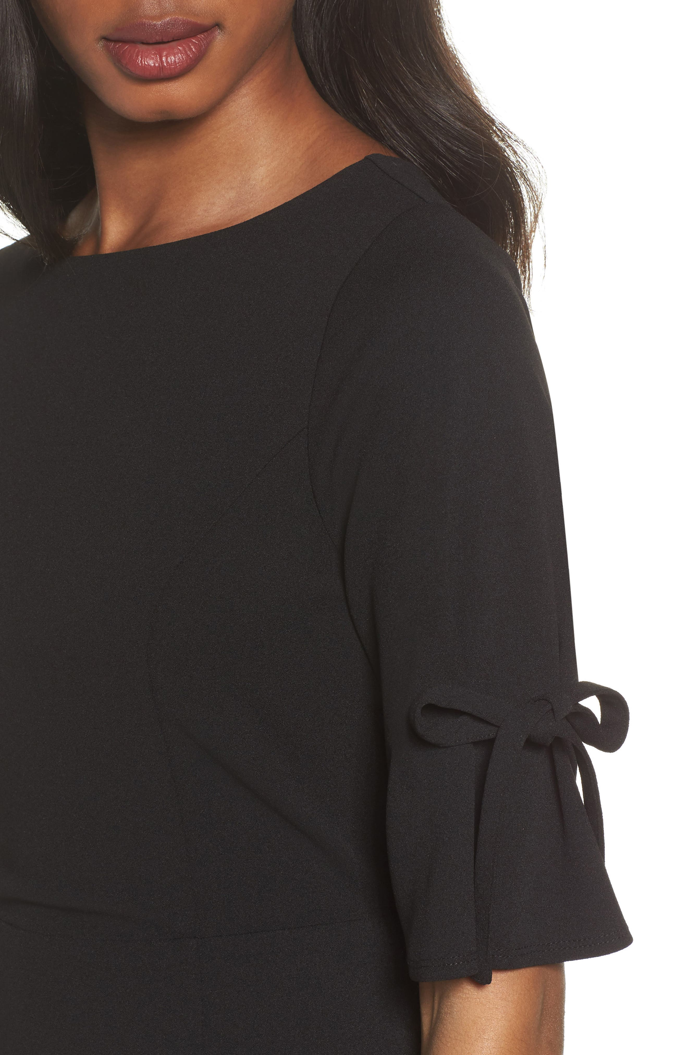 Tie Sleeve Sheath Dress,                             Alternate thumbnail 4, color,                             Black