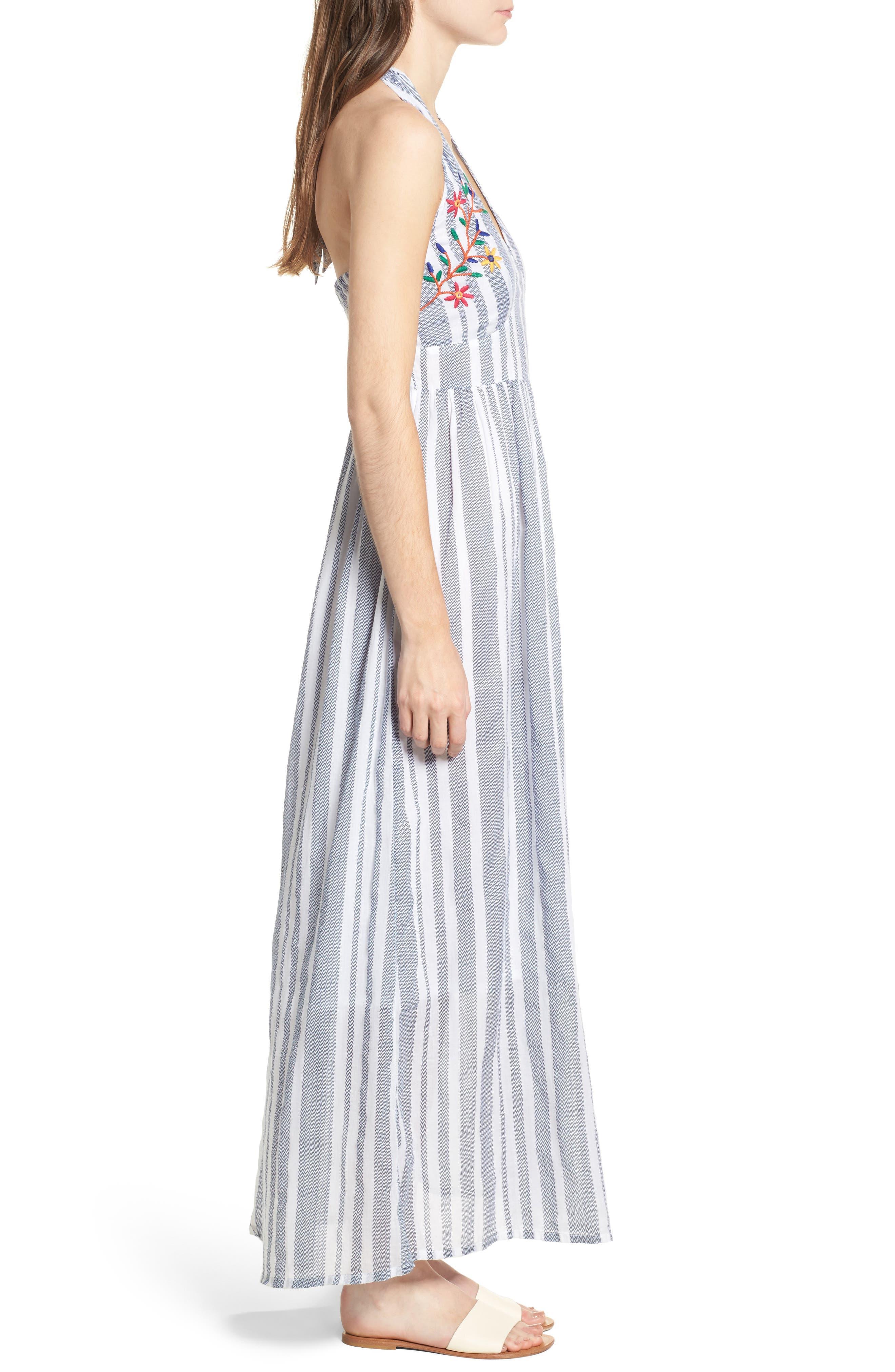 Setting Sail Stripe Maxi Dress,                             Alternate thumbnail 3, color,                             Blue/ White