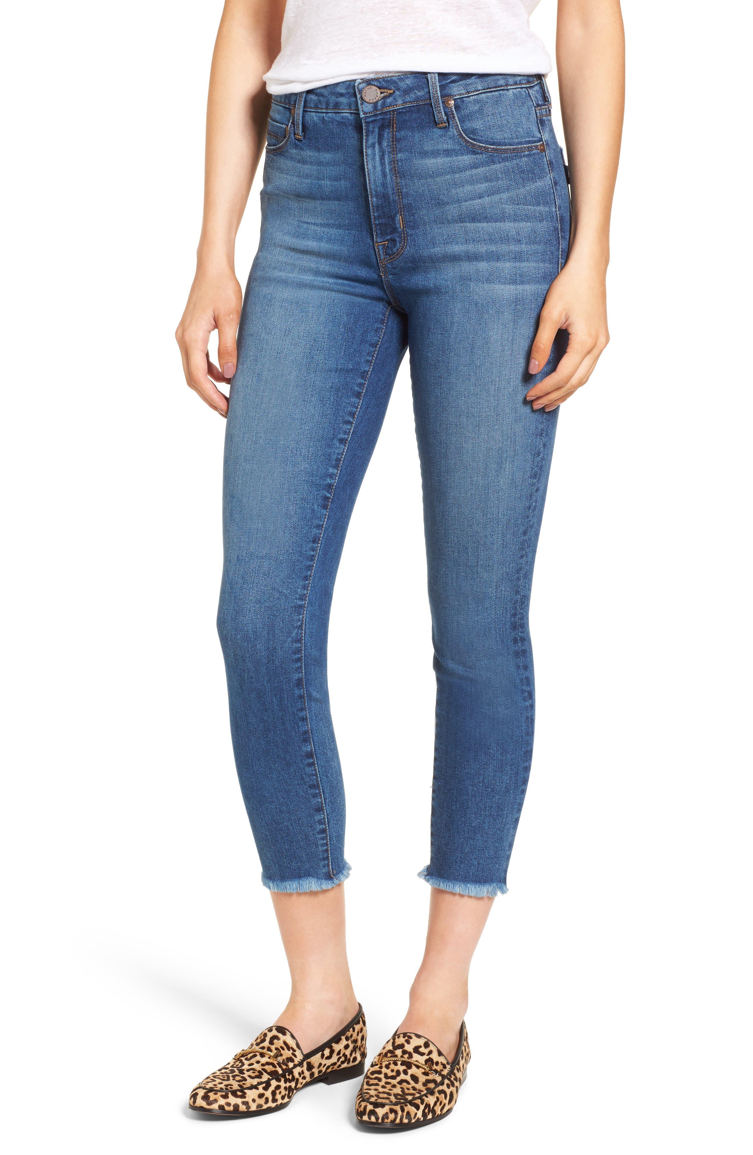 Bombshell Raw Hem Stretch Skinny Jeans,                             Main thumbnail 1, color,                             Dawn
