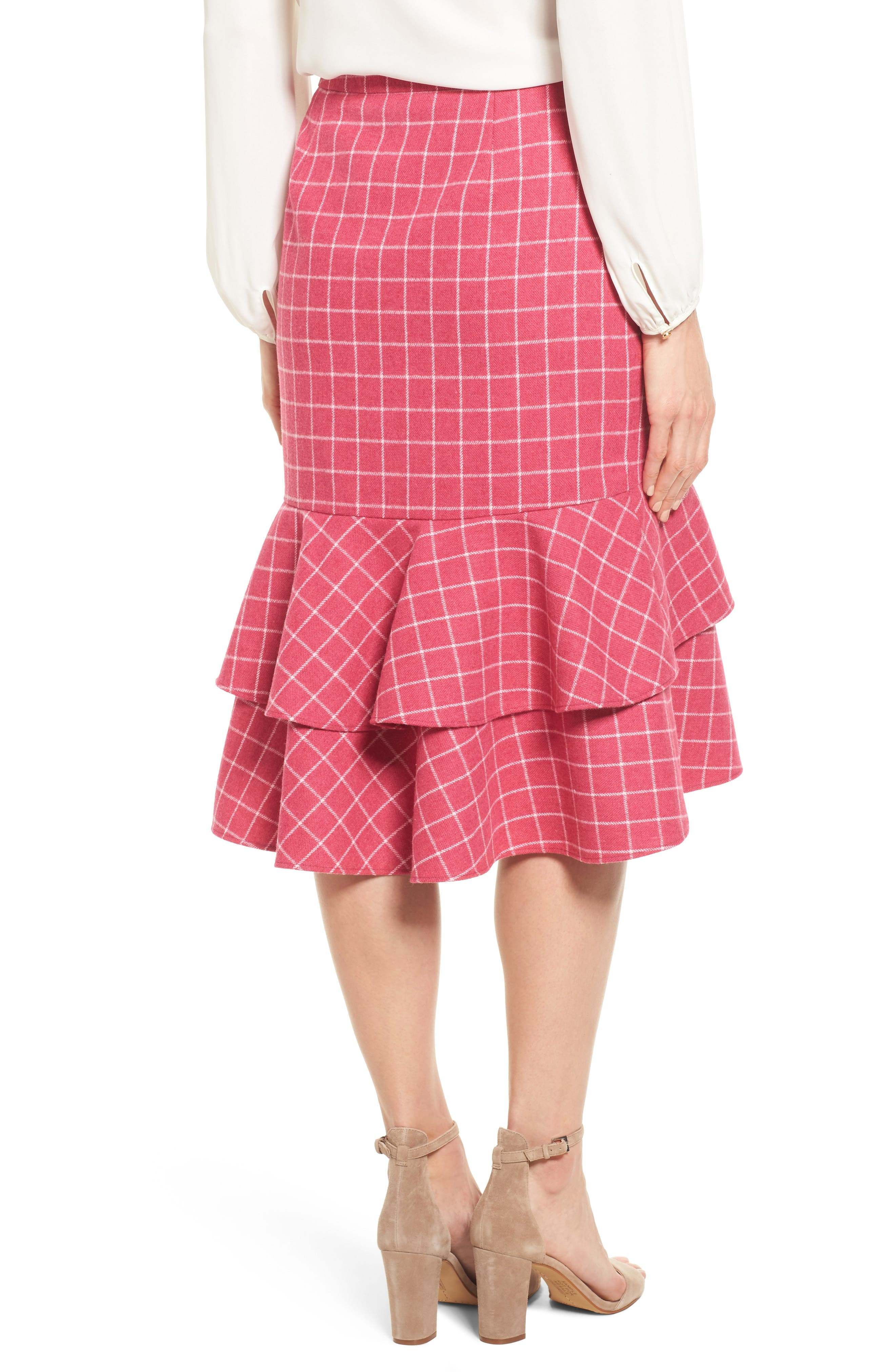 Windowpane Print Ruffle Skirt,                             Alternate thumbnail 2, color,                             Pink Windowpane