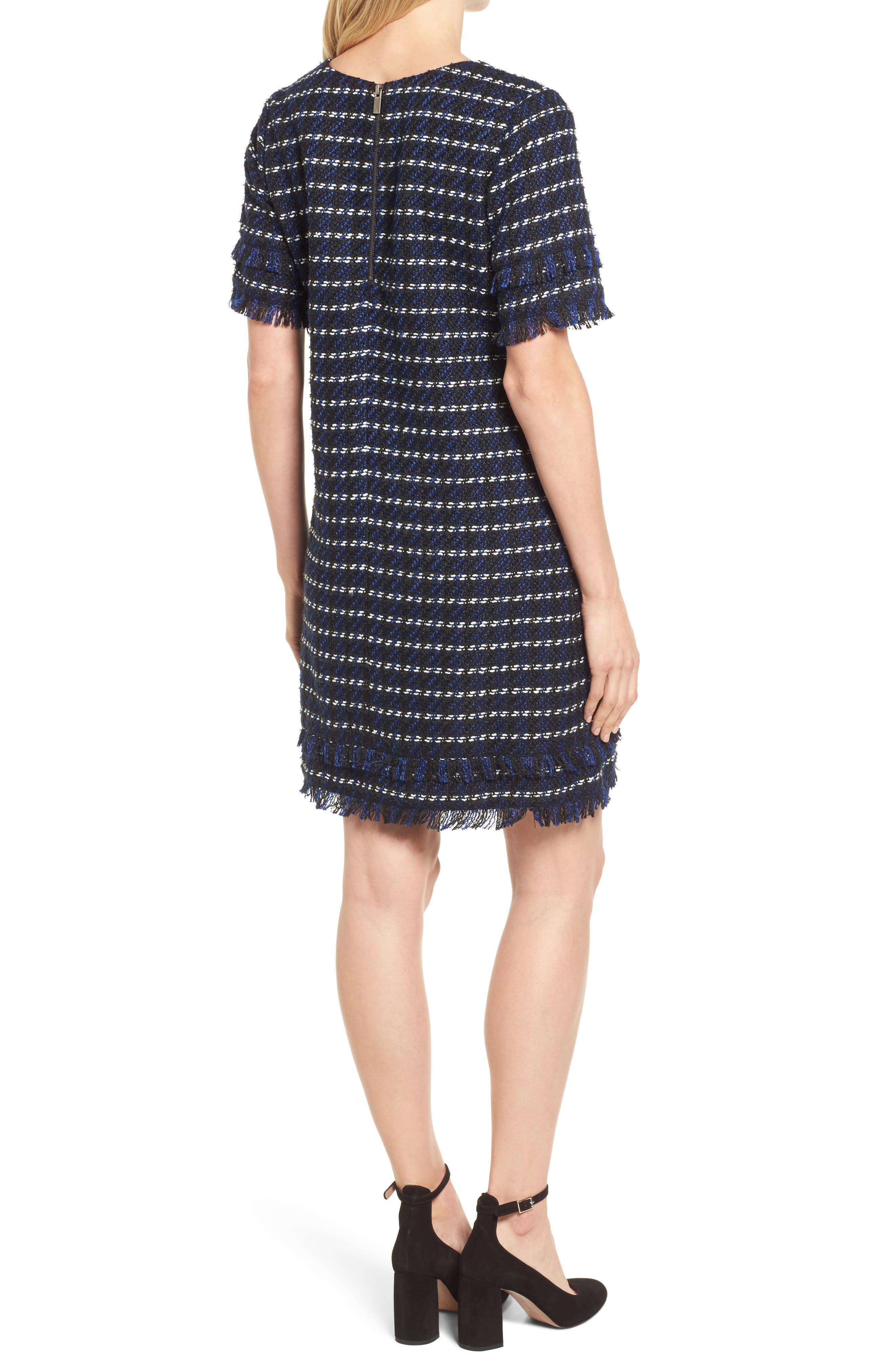 Fringe Tweed Dress,                             Alternate thumbnail 2, color,                             Black- Navy Tweed