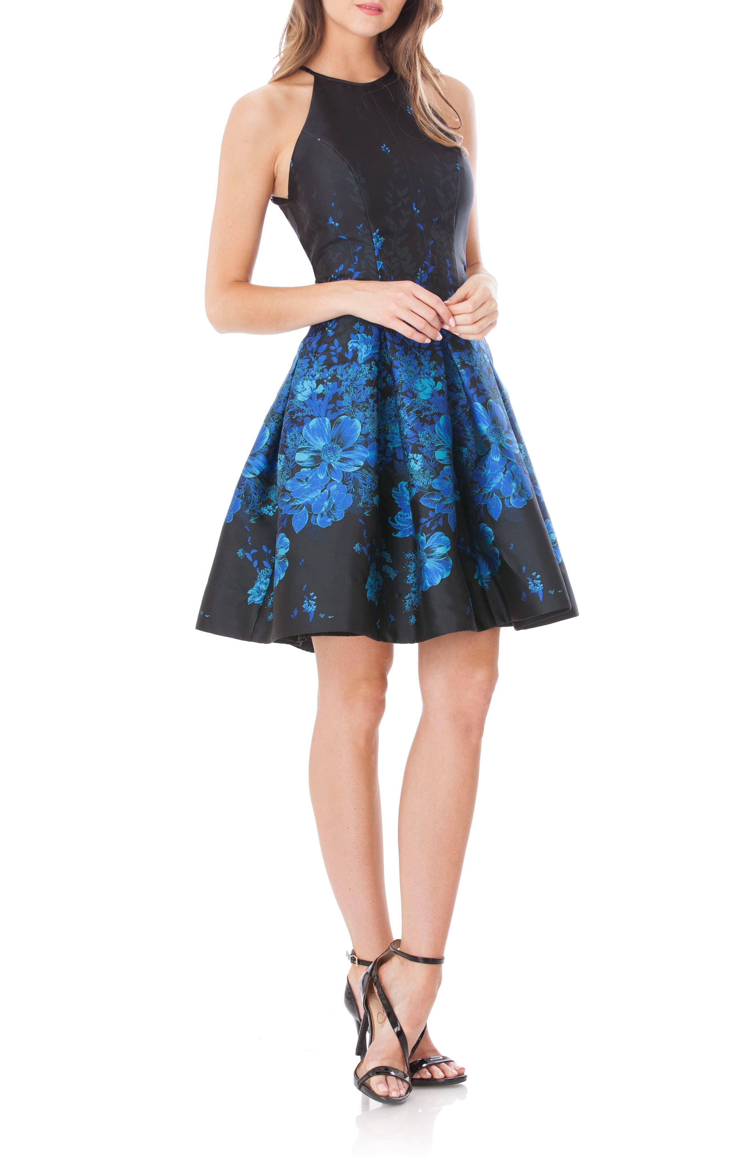 Mesh Back Halter Fit & Flare Dress,                         Main,                         color, Black/ Blue