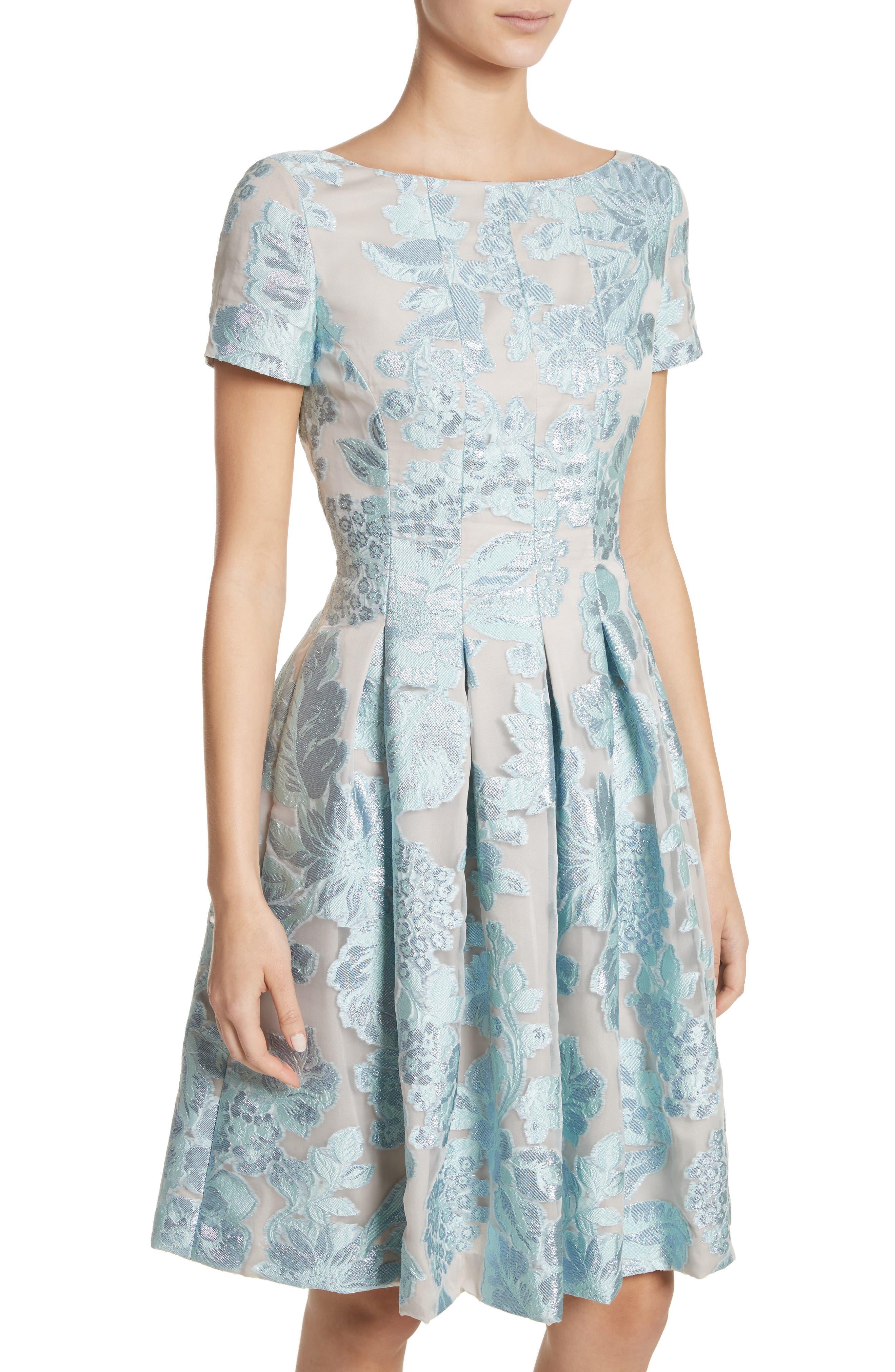 Floral Fil Coupé Organza Dress,                             Alternate thumbnail 3, color,                             Mint/ Silver