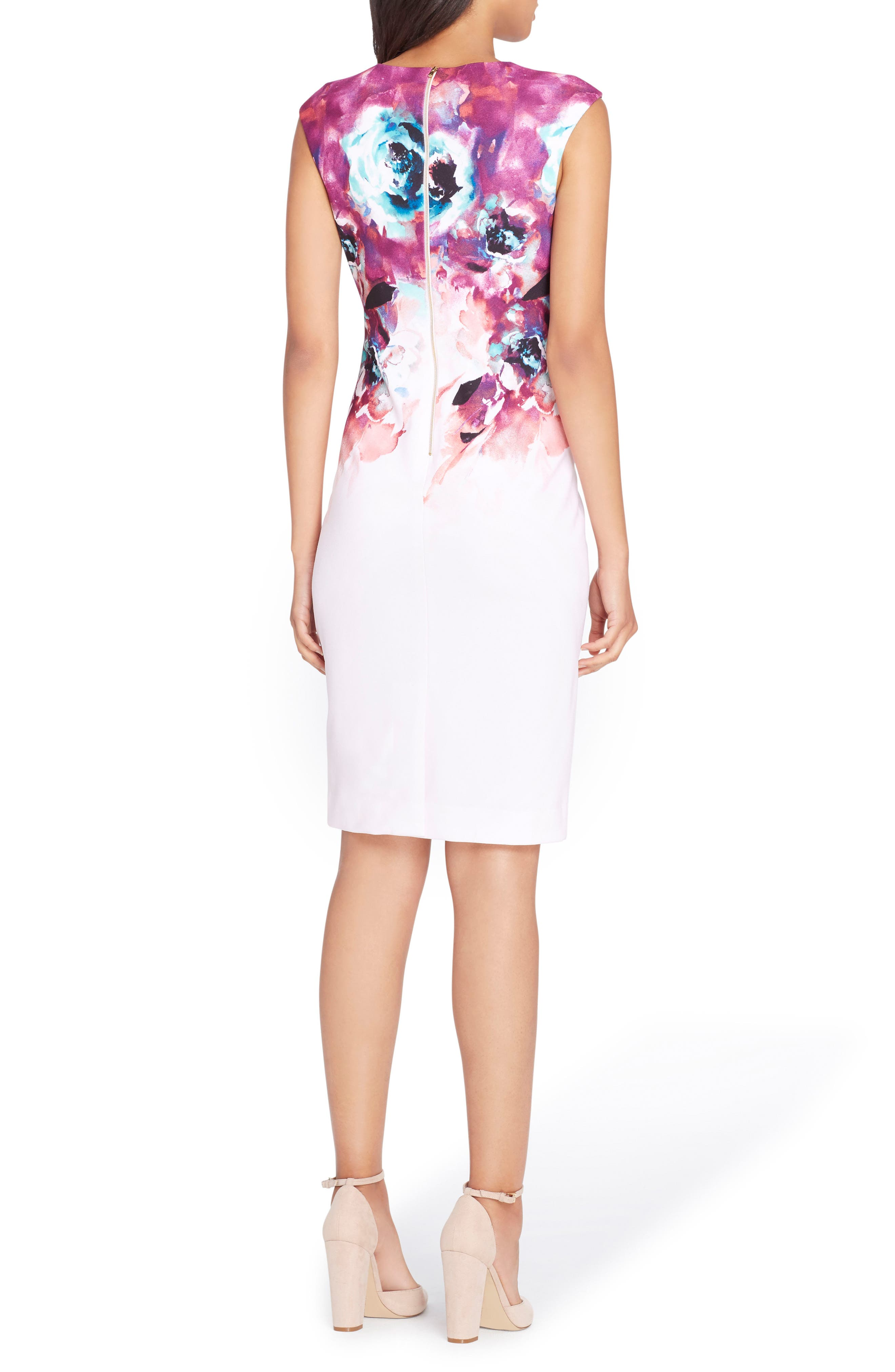 Floral Sheath Dress,                             Alternate thumbnail 2, color,                             Blush/ Berry/ Teal