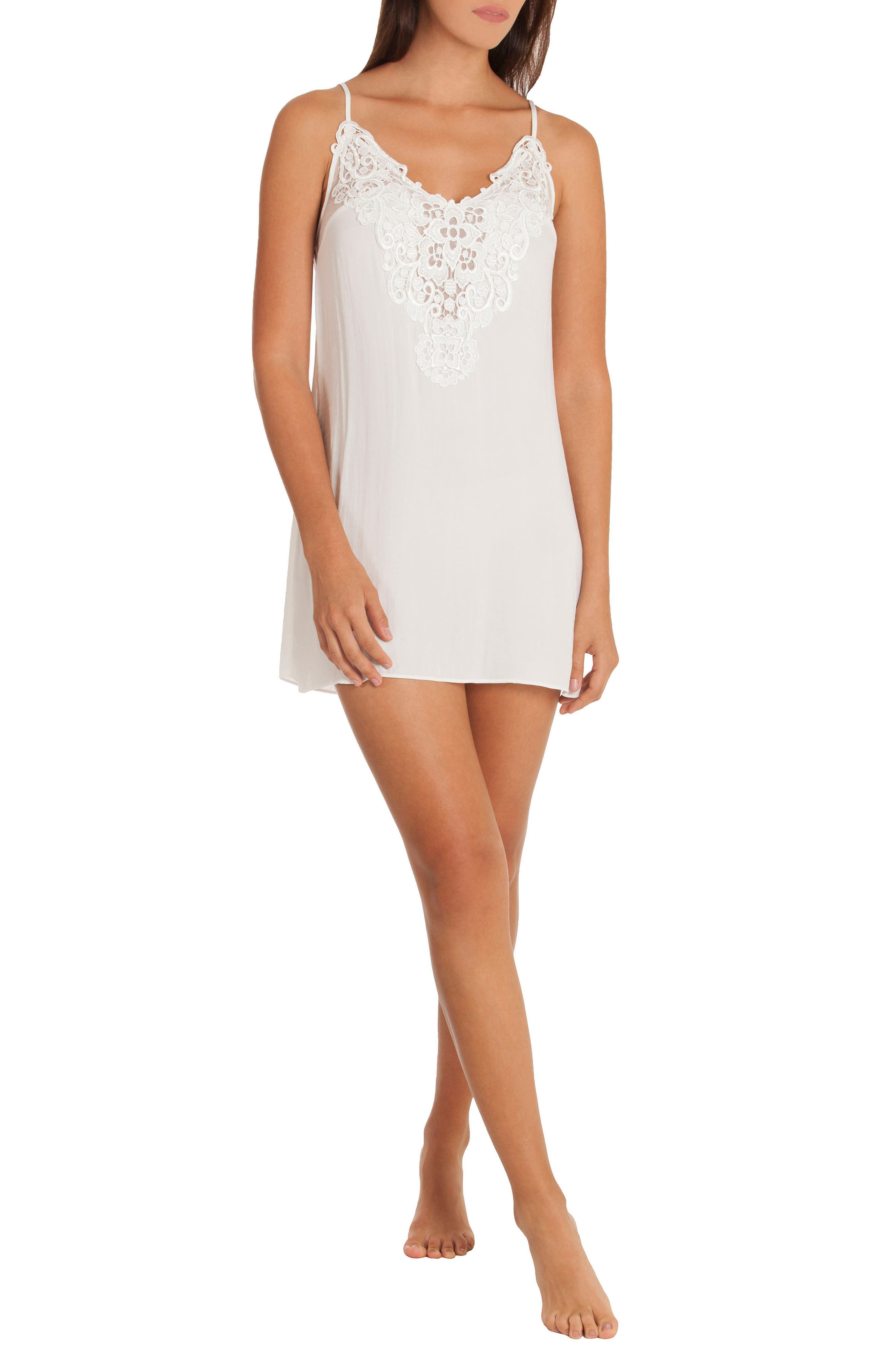 Byzantine Washed Satin Chemise,                             Alternate thumbnail 4, color,                             Ivory