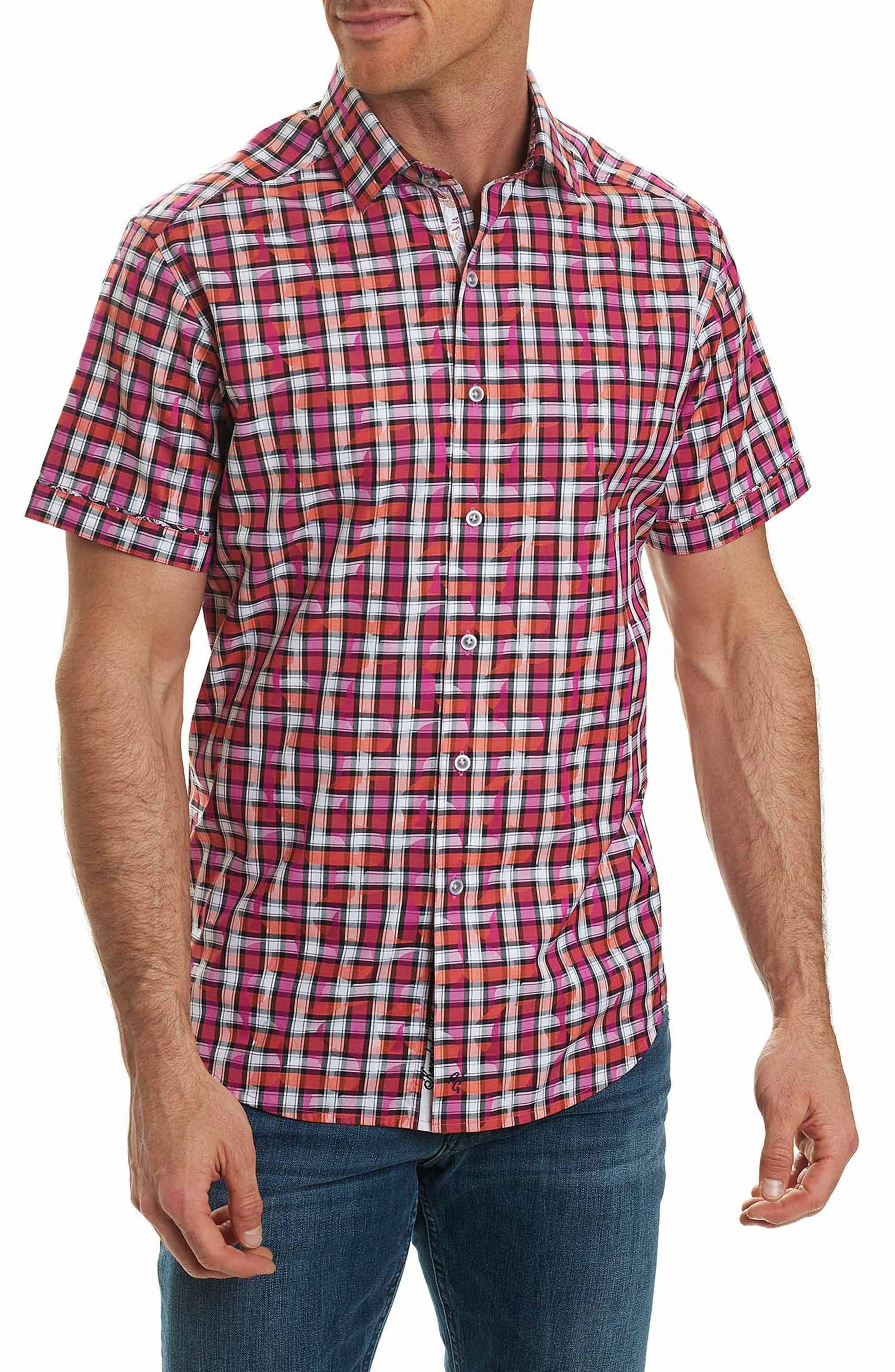 Tangier Check Sport Shirt,                         Main,                         color, Magenta