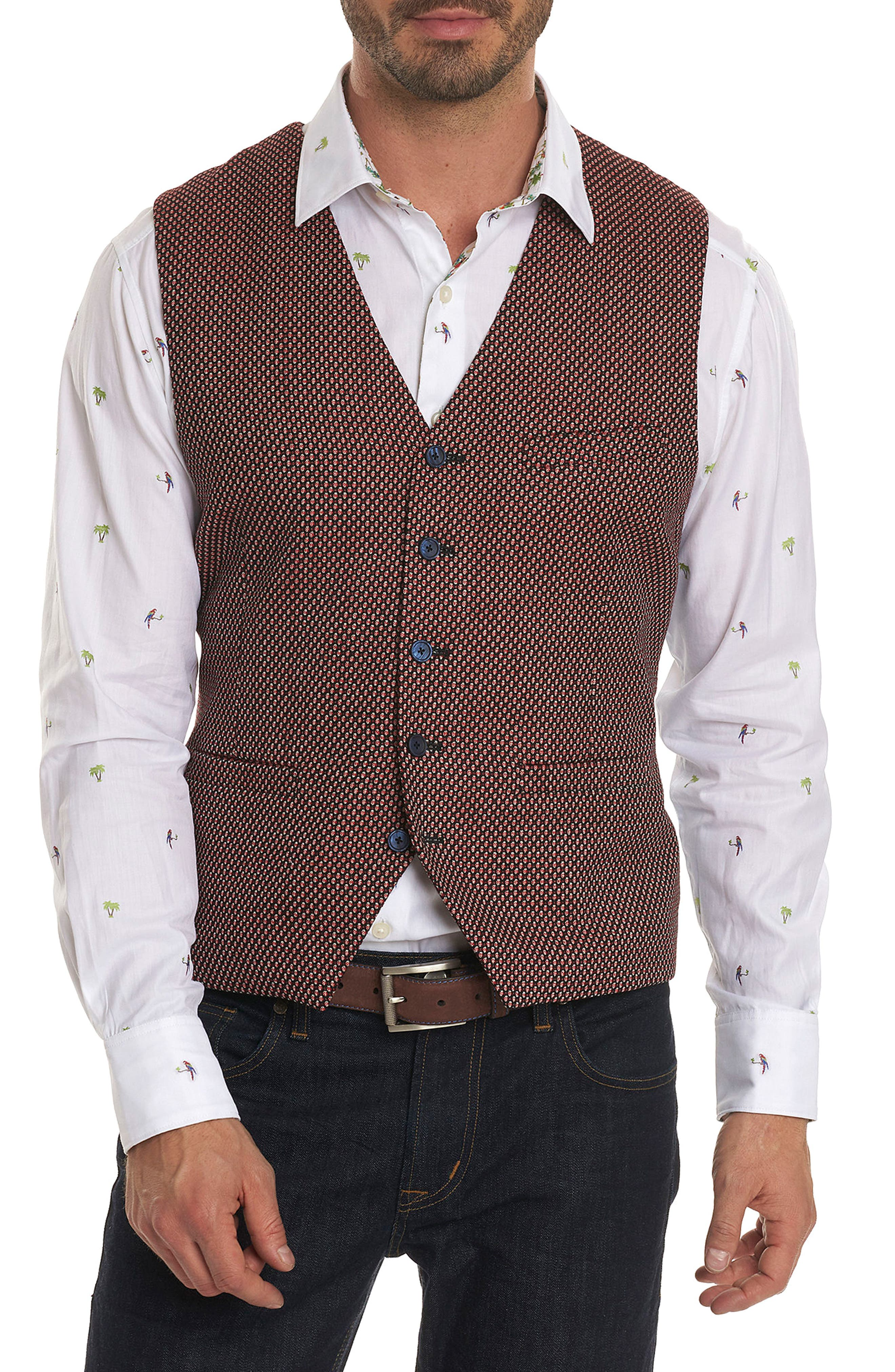 Edmund Classic Fit Wool Vest,                         Main,                         color, Red