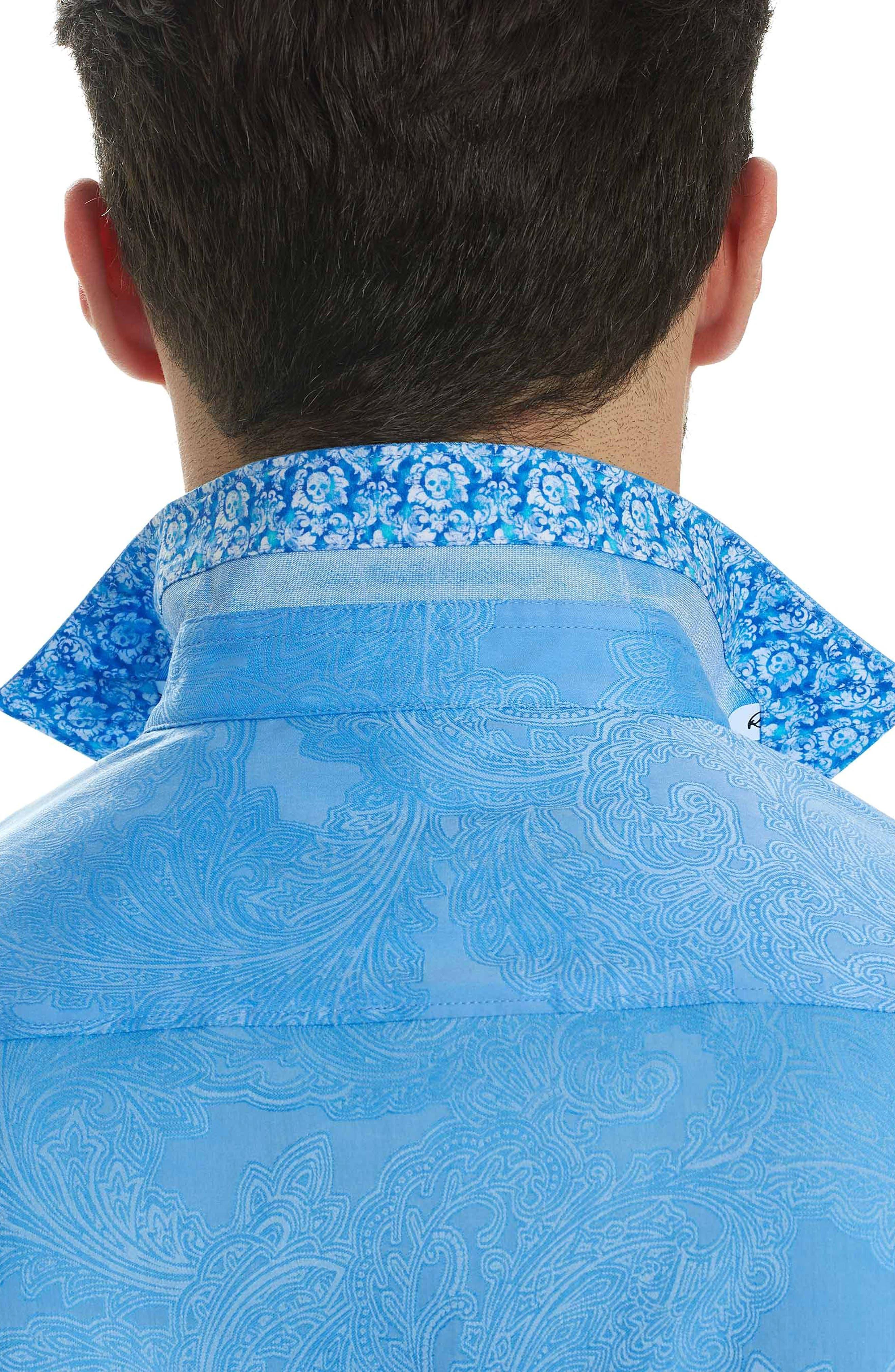 Rosendale Classic Fit Jacquard Sport Shirt,                             Alternate thumbnail 3, color,                             Light Blue