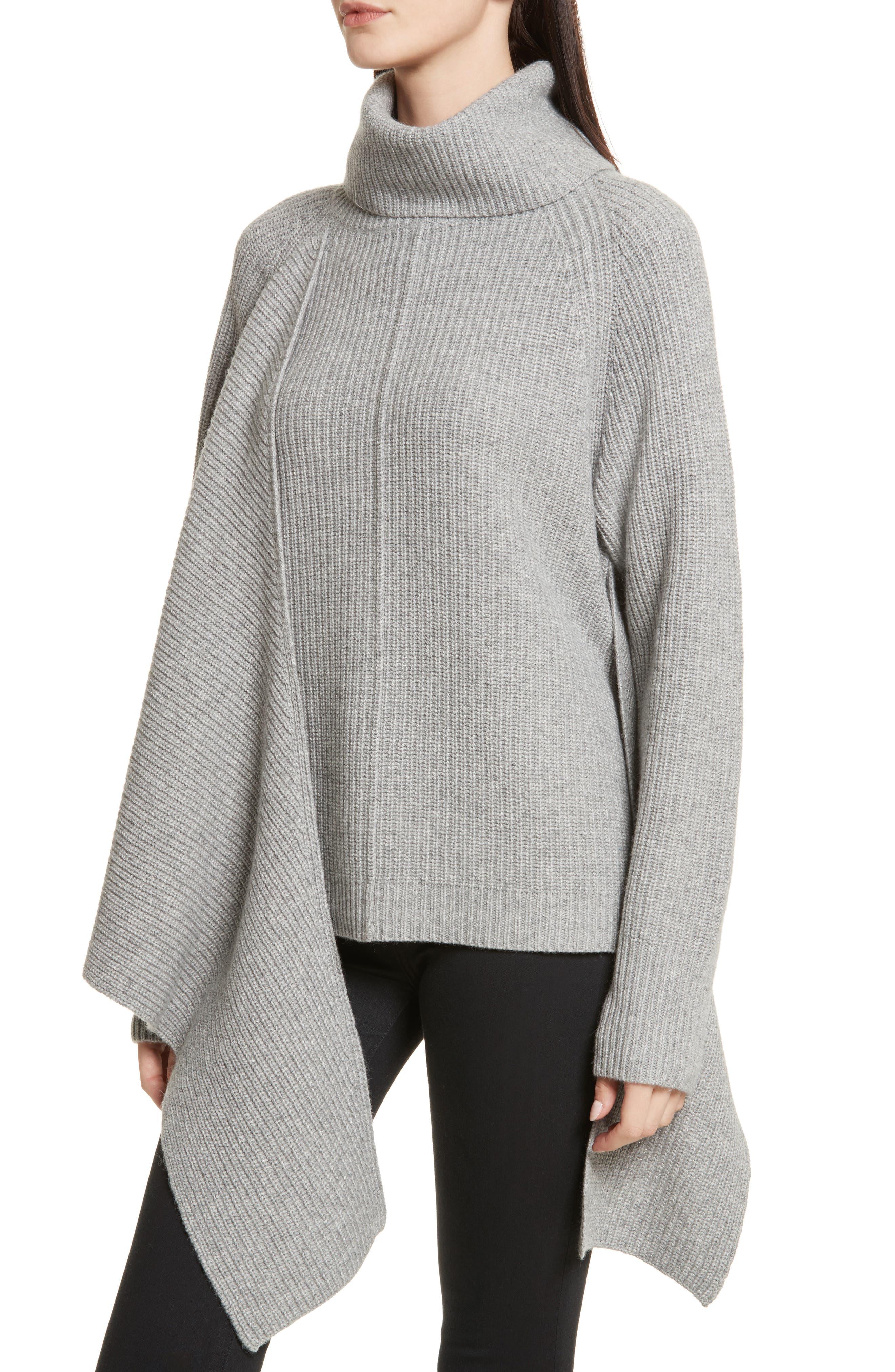 Bree Wrap Waist Sweater,                             Alternate thumbnail 3, color,                             Dovetail Melange