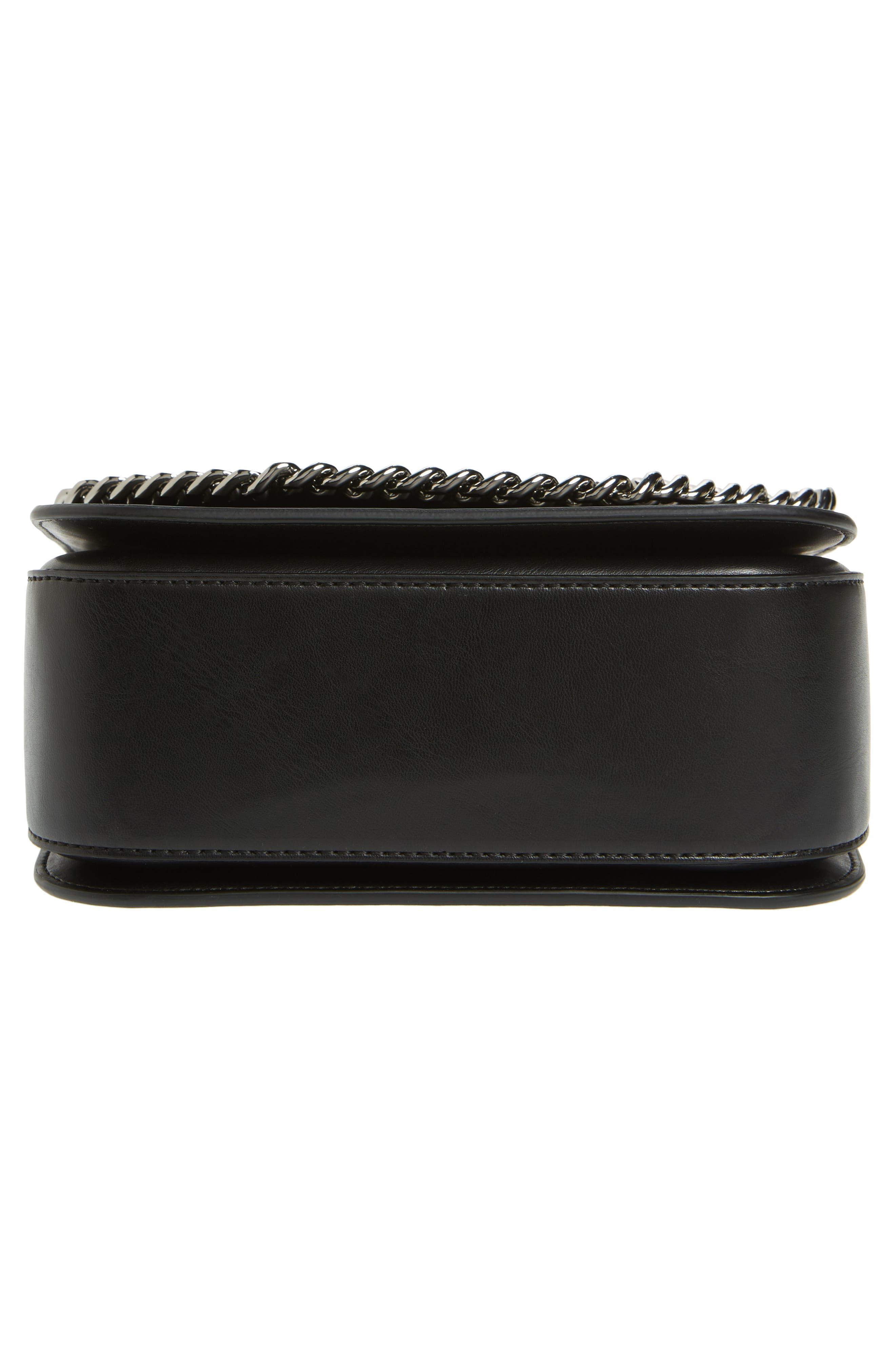 Small Falabella Box Alter Nappa Faux Leather Crossbody Bag,                             Alternate thumbnail 6, color,                             Black/ Black