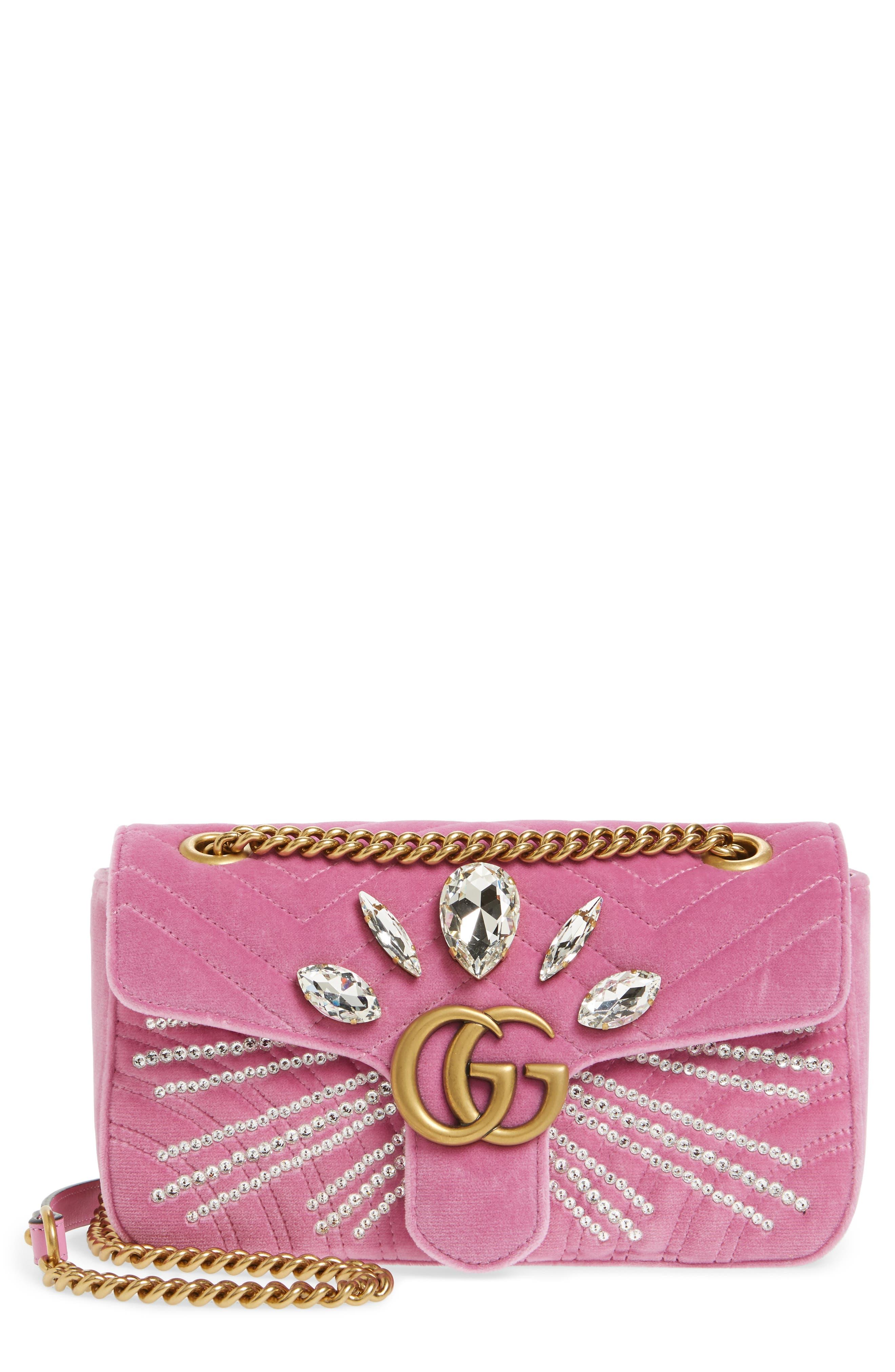 Main Image - Gucci GG Marmont 2.0 Crystal Embellished Velvet Crossbody Bag