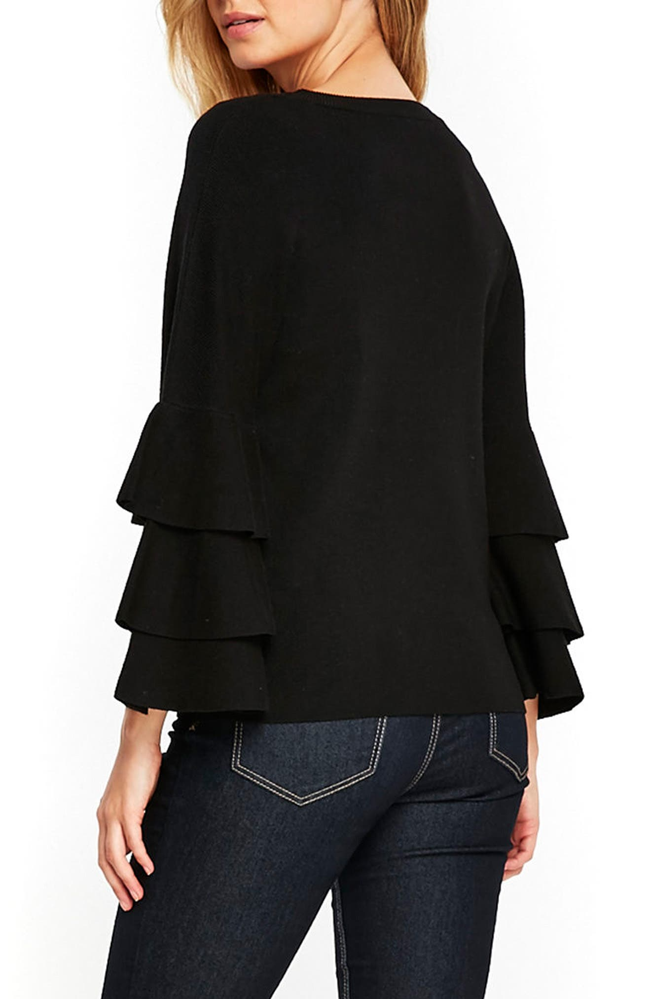 Tiered Ruffle Sleeve Top,                             Alternate thumbnail 2, color,                             Black