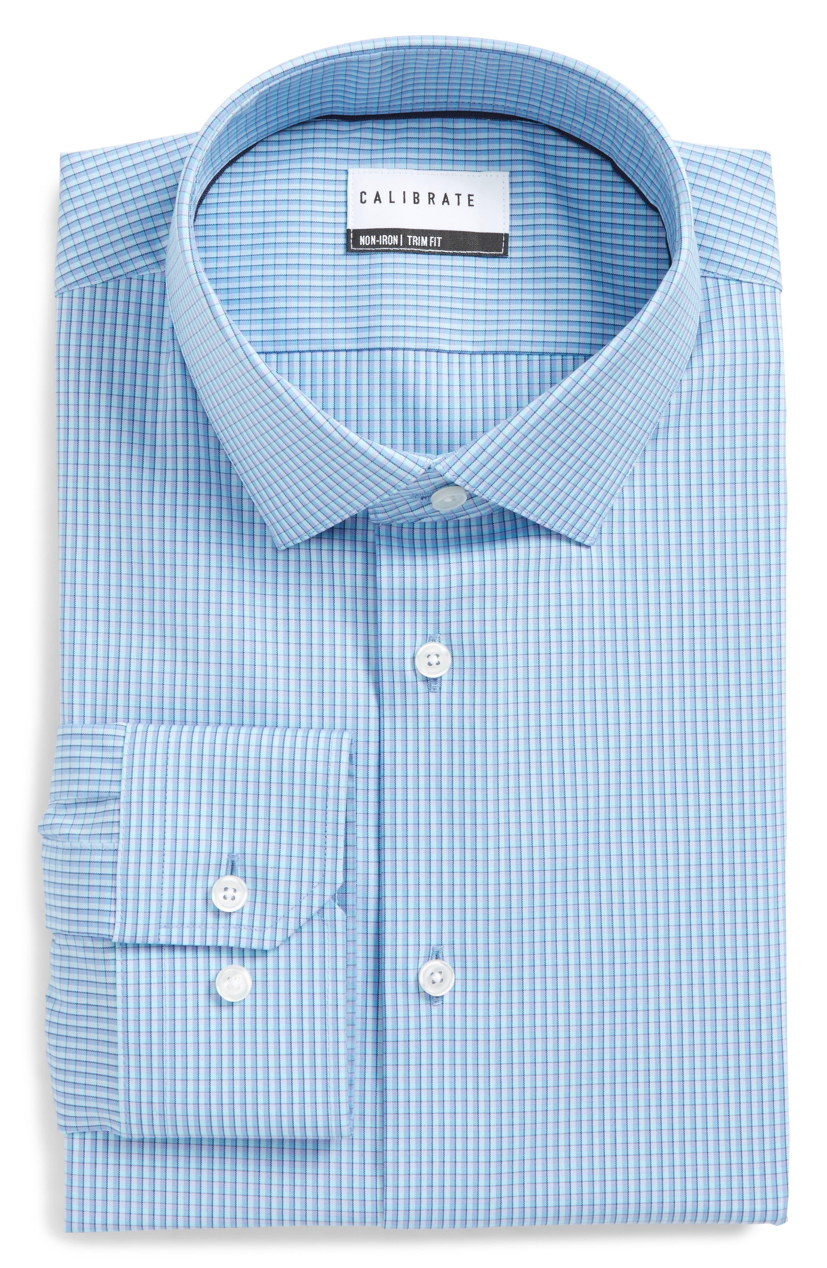 Trim Fit Stretch Non-Iron Check Dress Shirt,                         Main,                         color, Blue Aquarius