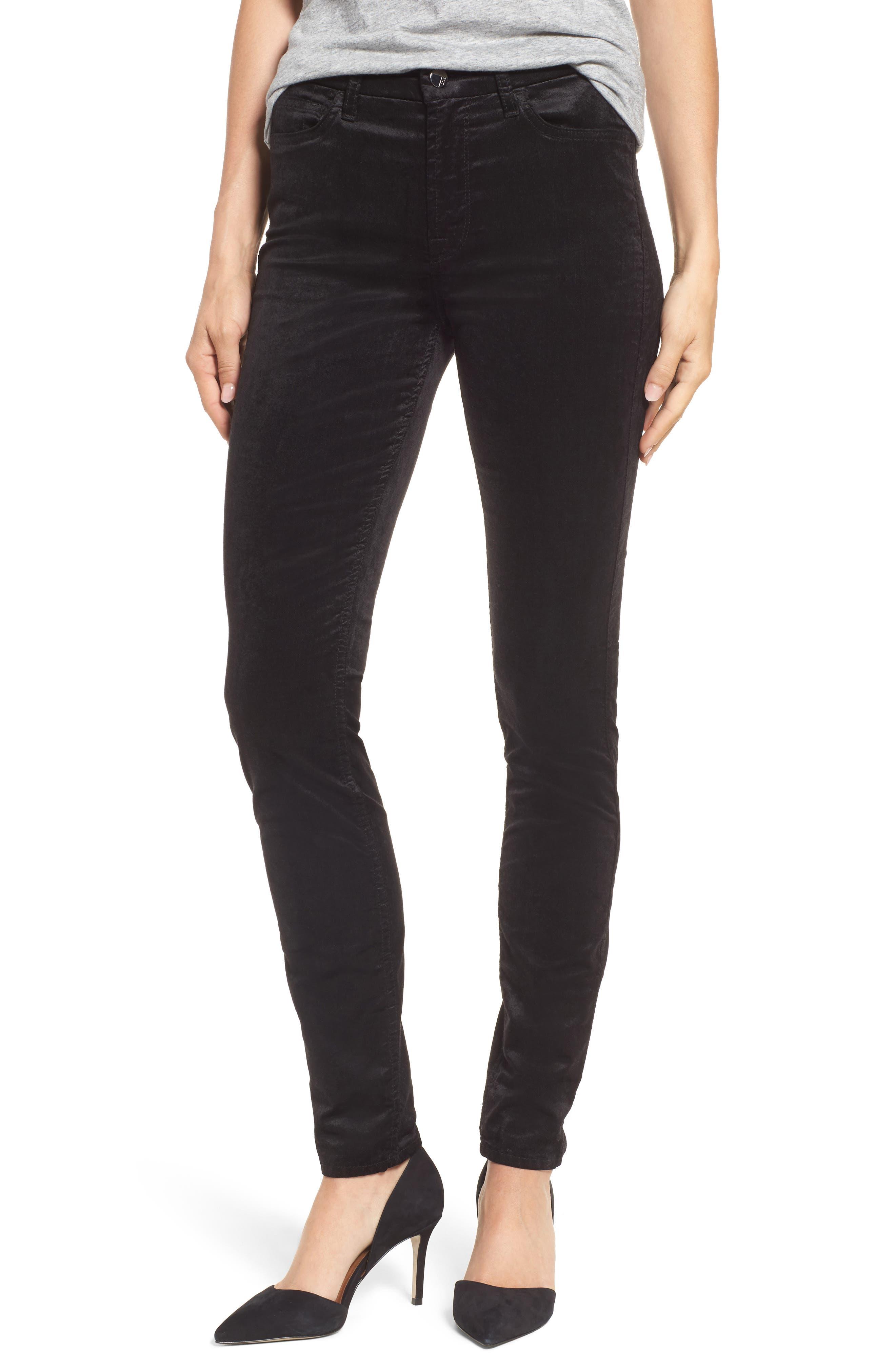 Jen7 Stretch Velvet Ankle Skinny Jeans