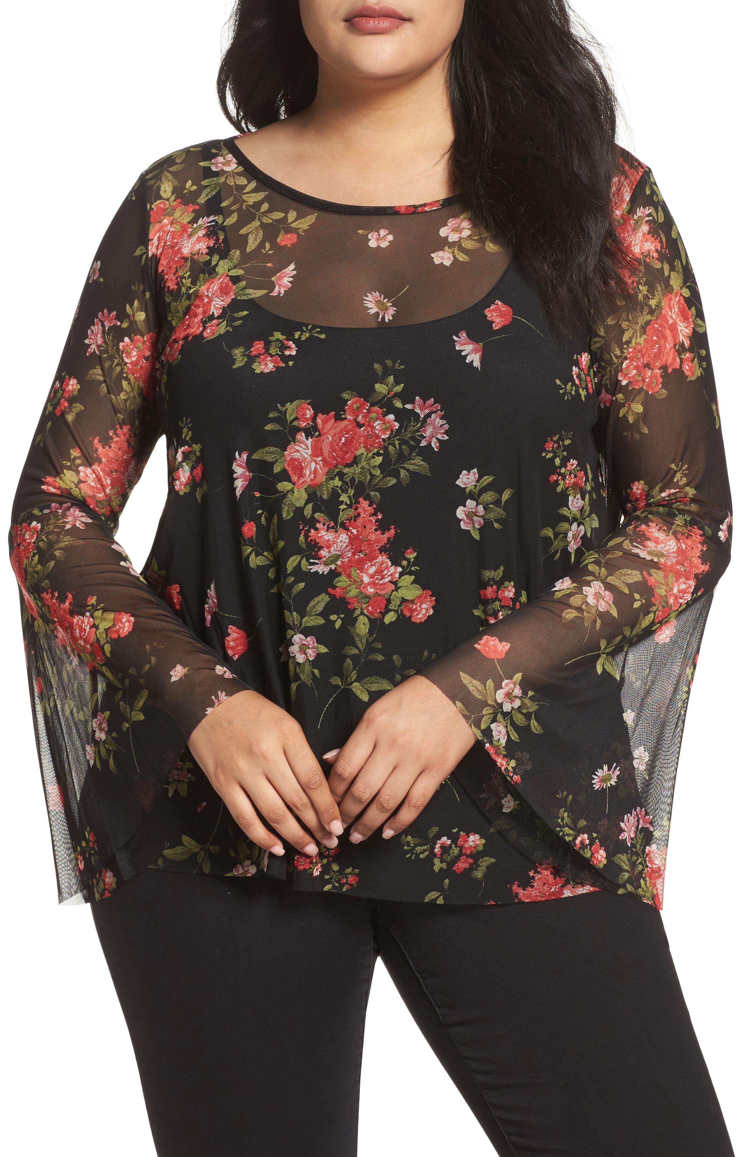 Floral Mesh Top,                         Main,                         color, Black