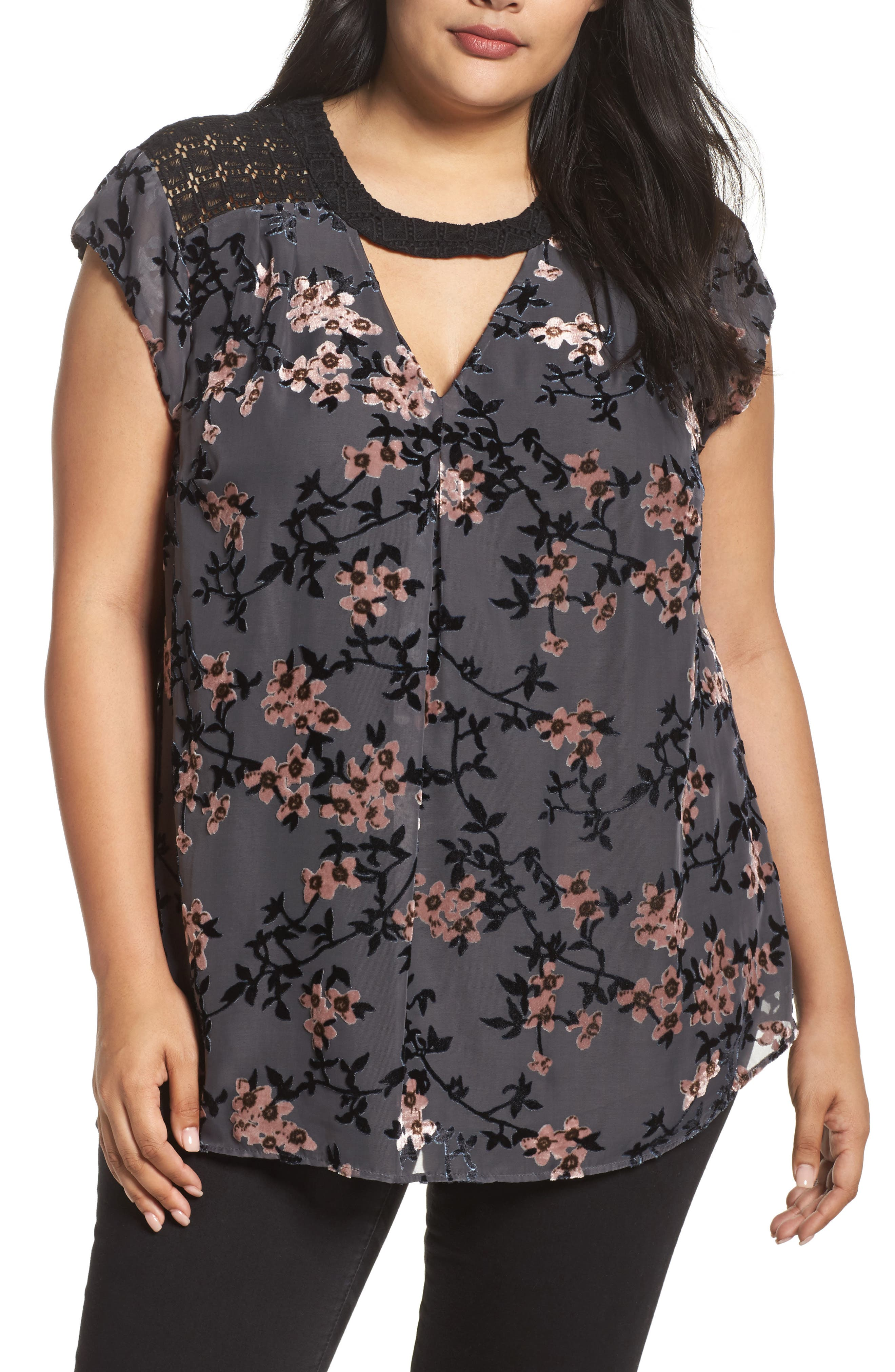 Daniel Rainn Floral Burnout Velvet Top (Plus Size)