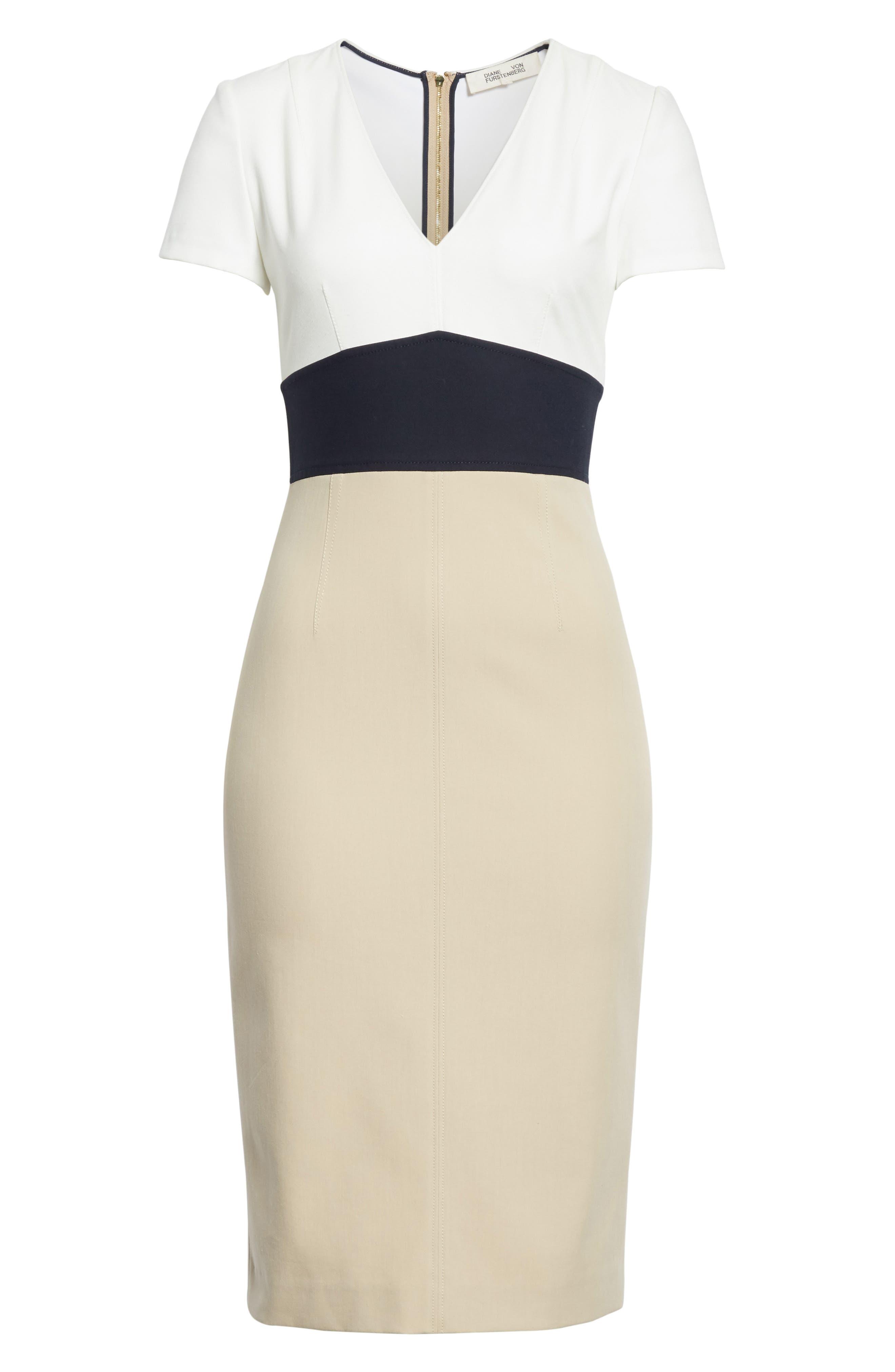 Diane von Furstenberg Colorblock Stretch Cotton Blend Sheath Dress,                             Alternate thumbnail 6, color,                             Sand/ Alexander Navy/ White