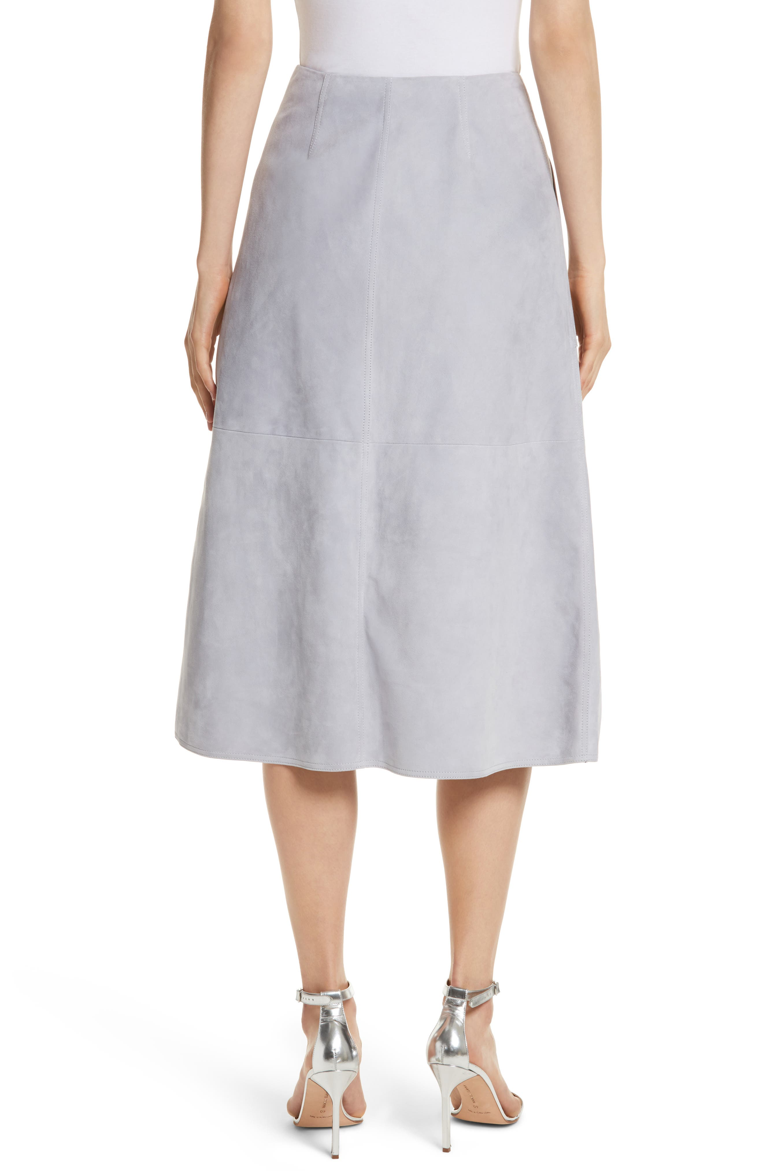 Diane von Furstenberg Patch Pocket Suede Midi Skirt,                             Alternate thumbnail 2, color,                             Smoke