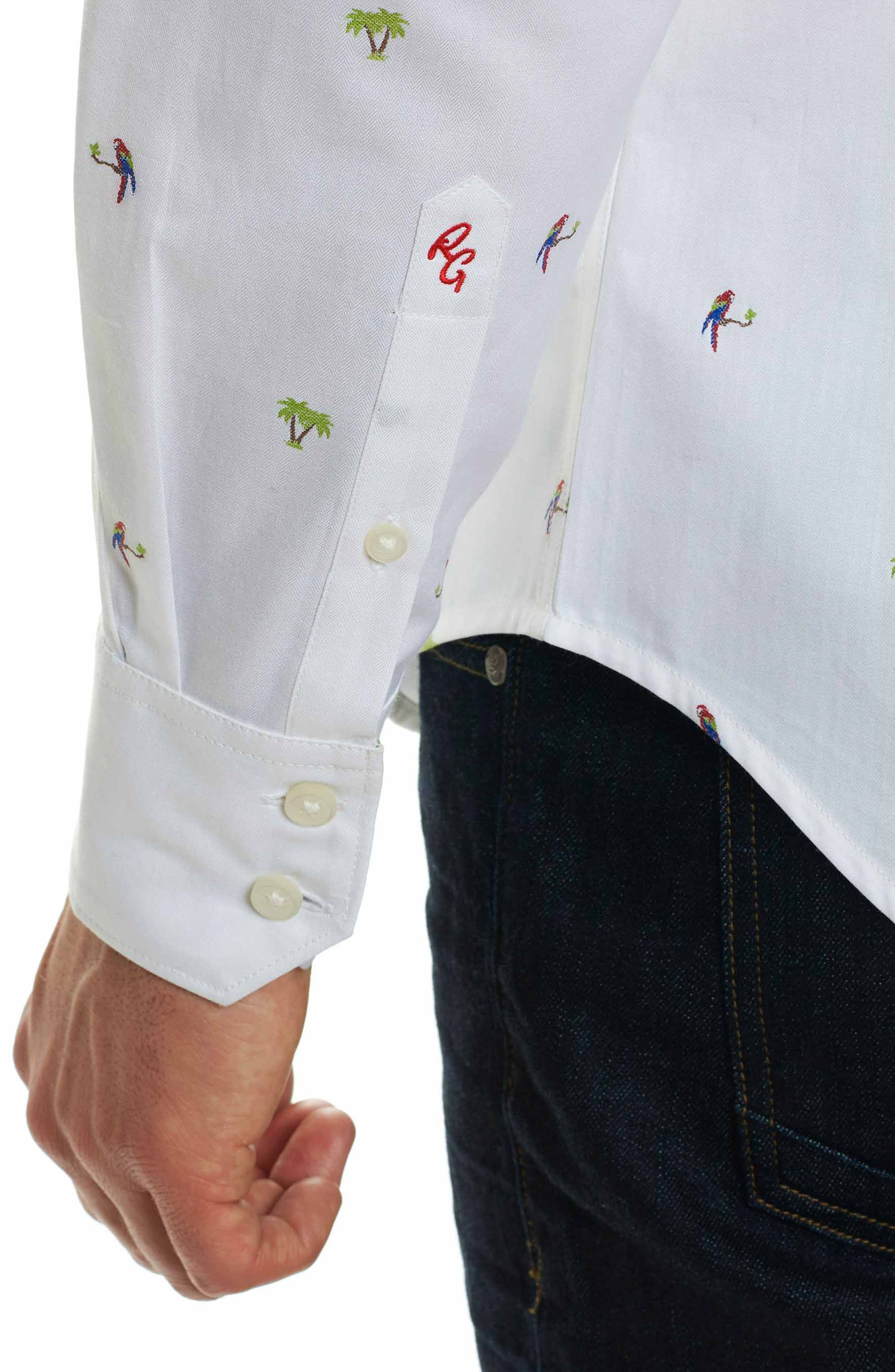 Palm Leaves Classic Fit Sport Shirt,                             Alternate thumbnail 6, color,                             White
