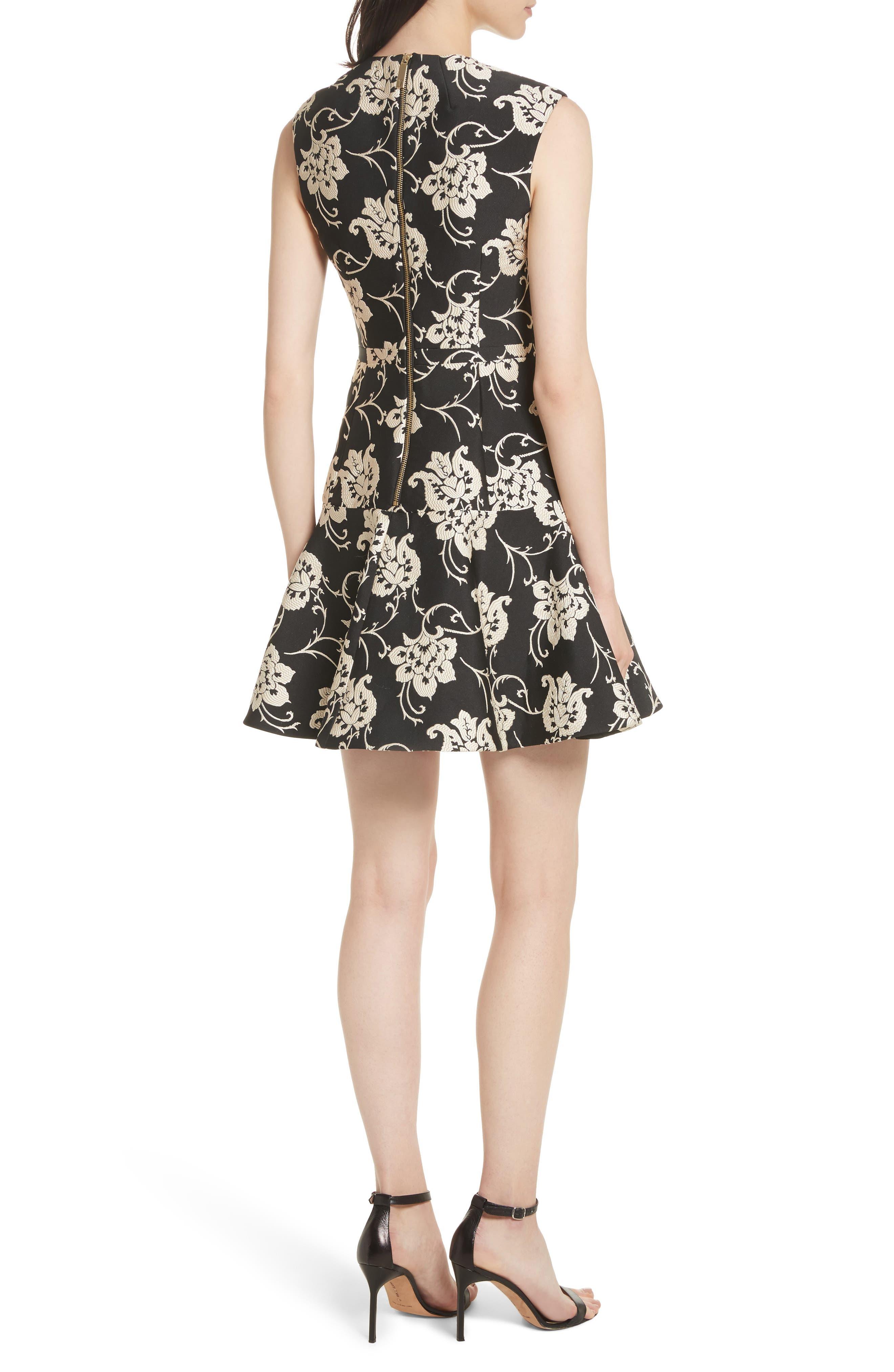 Ornate Paisley Ruffle Hem Dress,                             Alternate thumbnail 2, color,                             Black