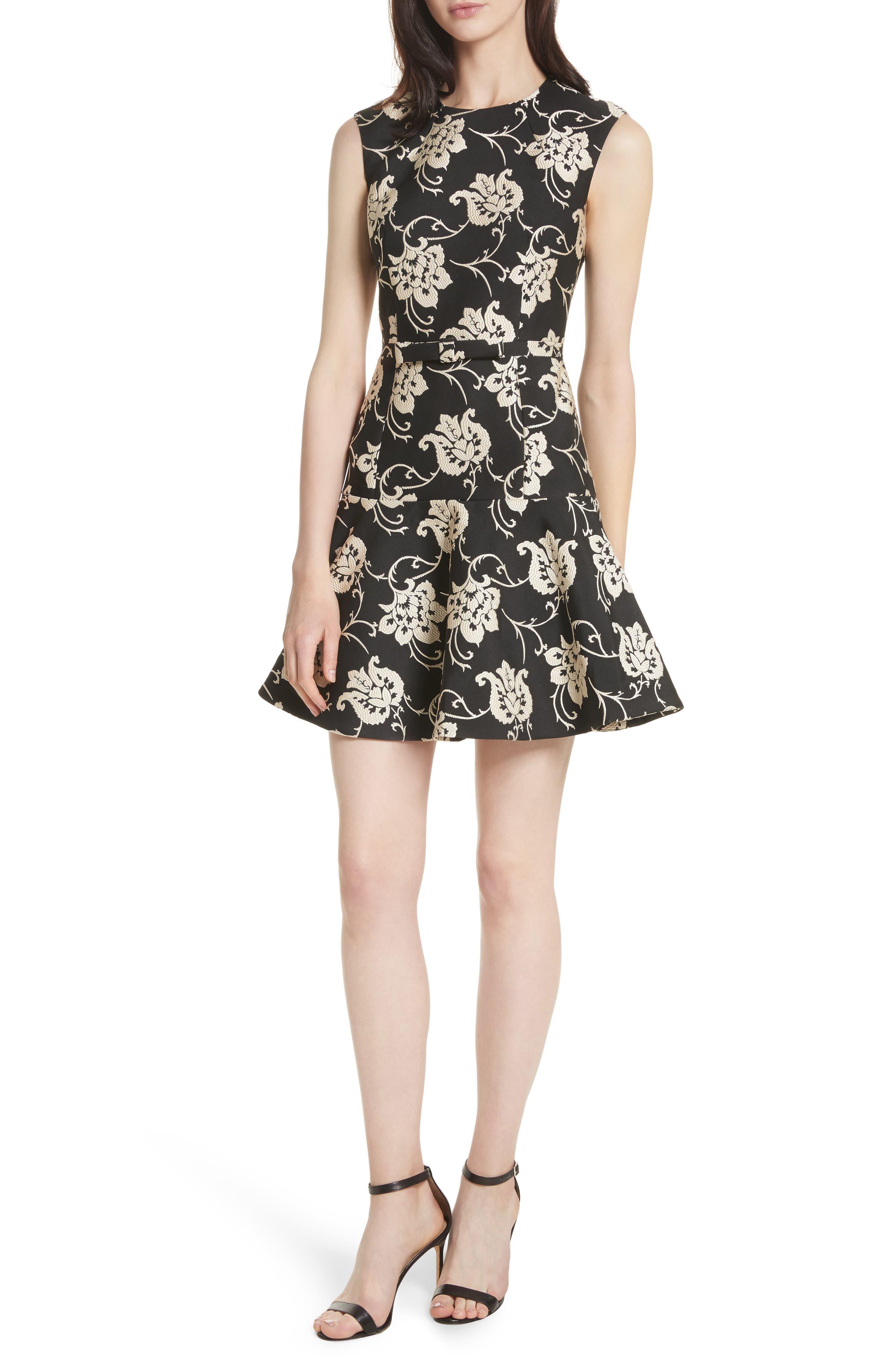 Ornate Paisley Ruffle Hem Dress,                             Main thumbnail 1, color,                             Black