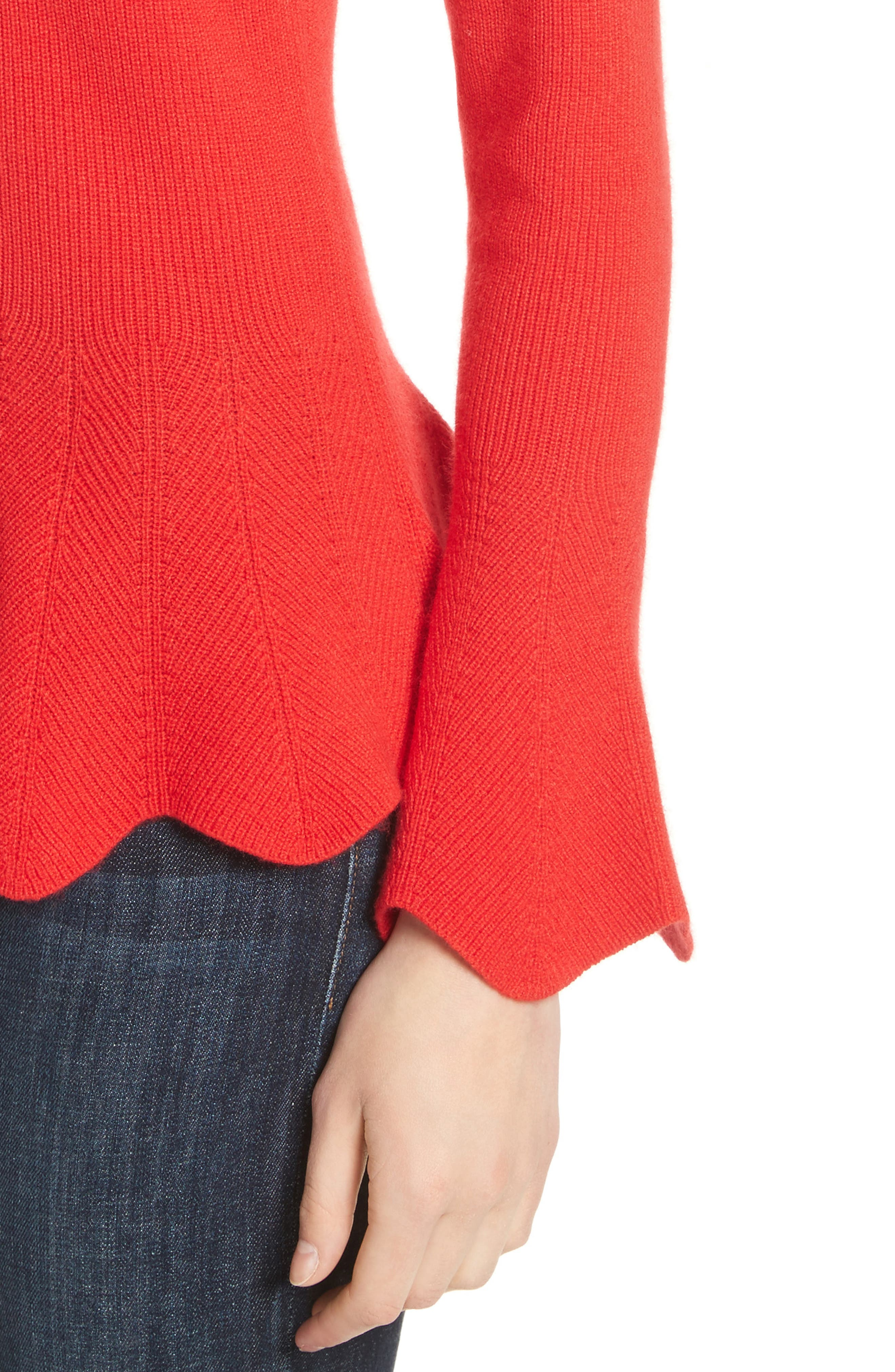 Peplum Sweater,                             Alternate thumbnail 4, color,                             Bright Red