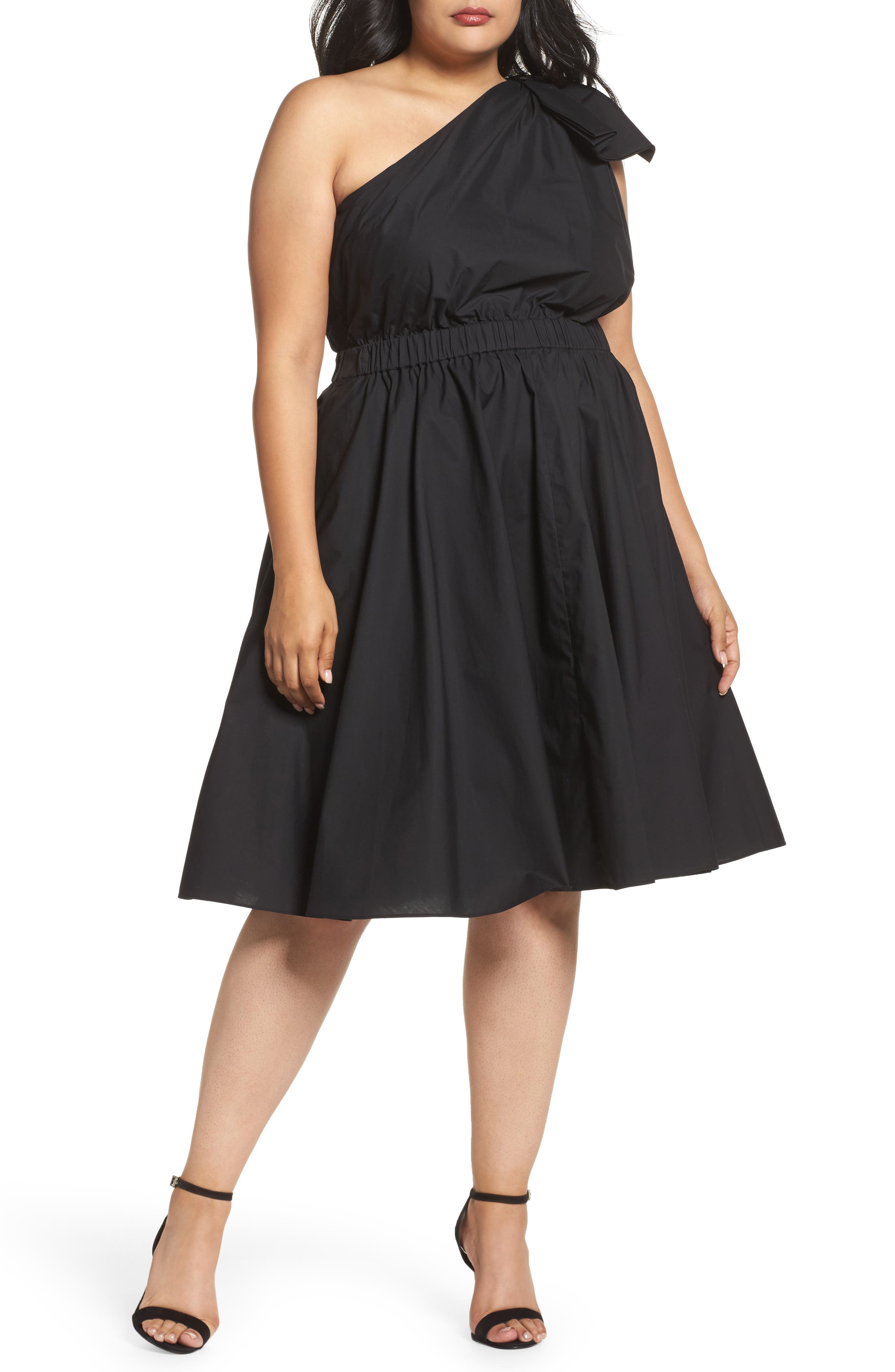 One-Shoulder Fit & Flare Dress,                             Main thumbnail 1, color,                             Black