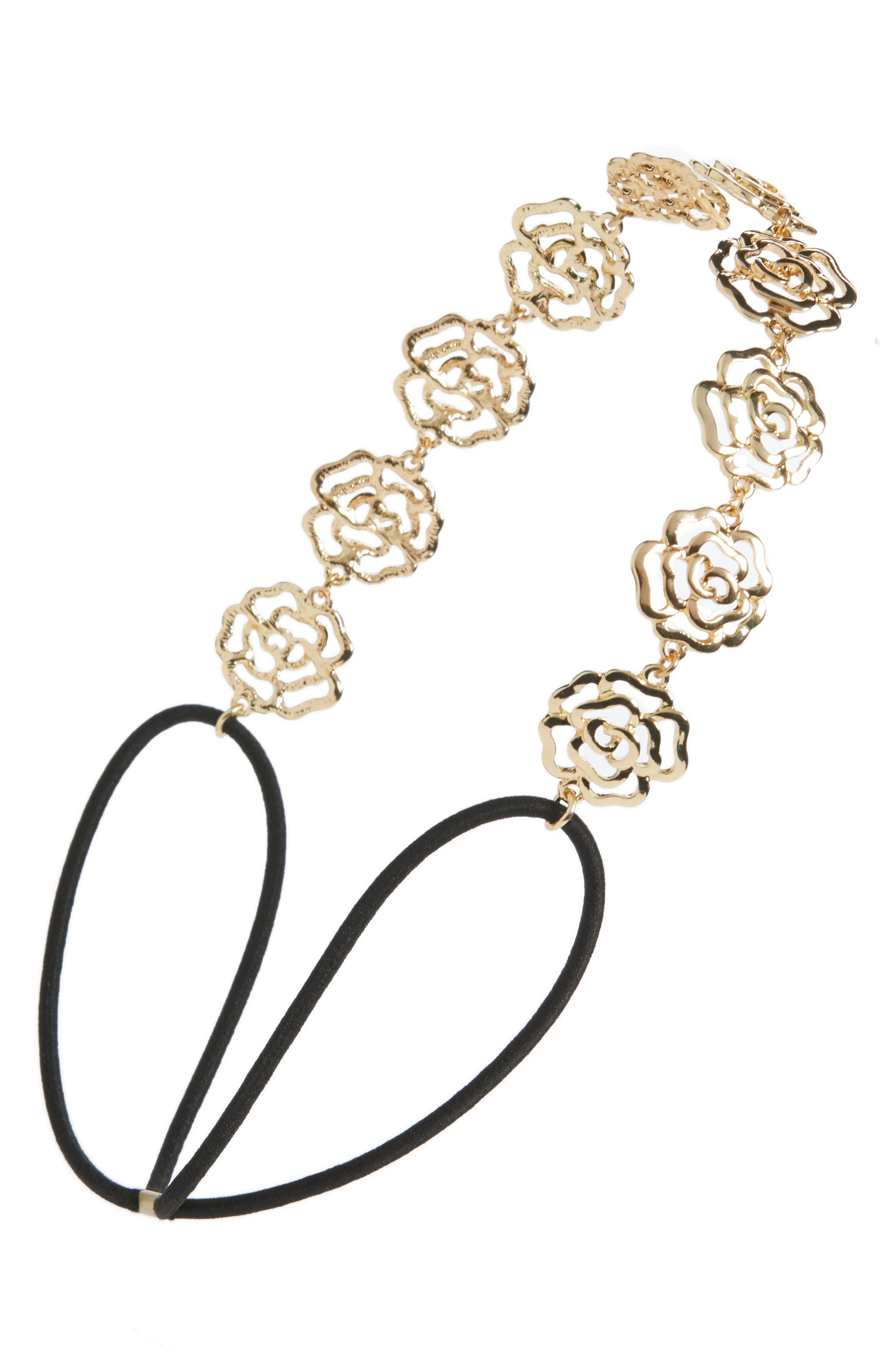 Rose Metal Head Wrap,                         Main,                         color, Gold