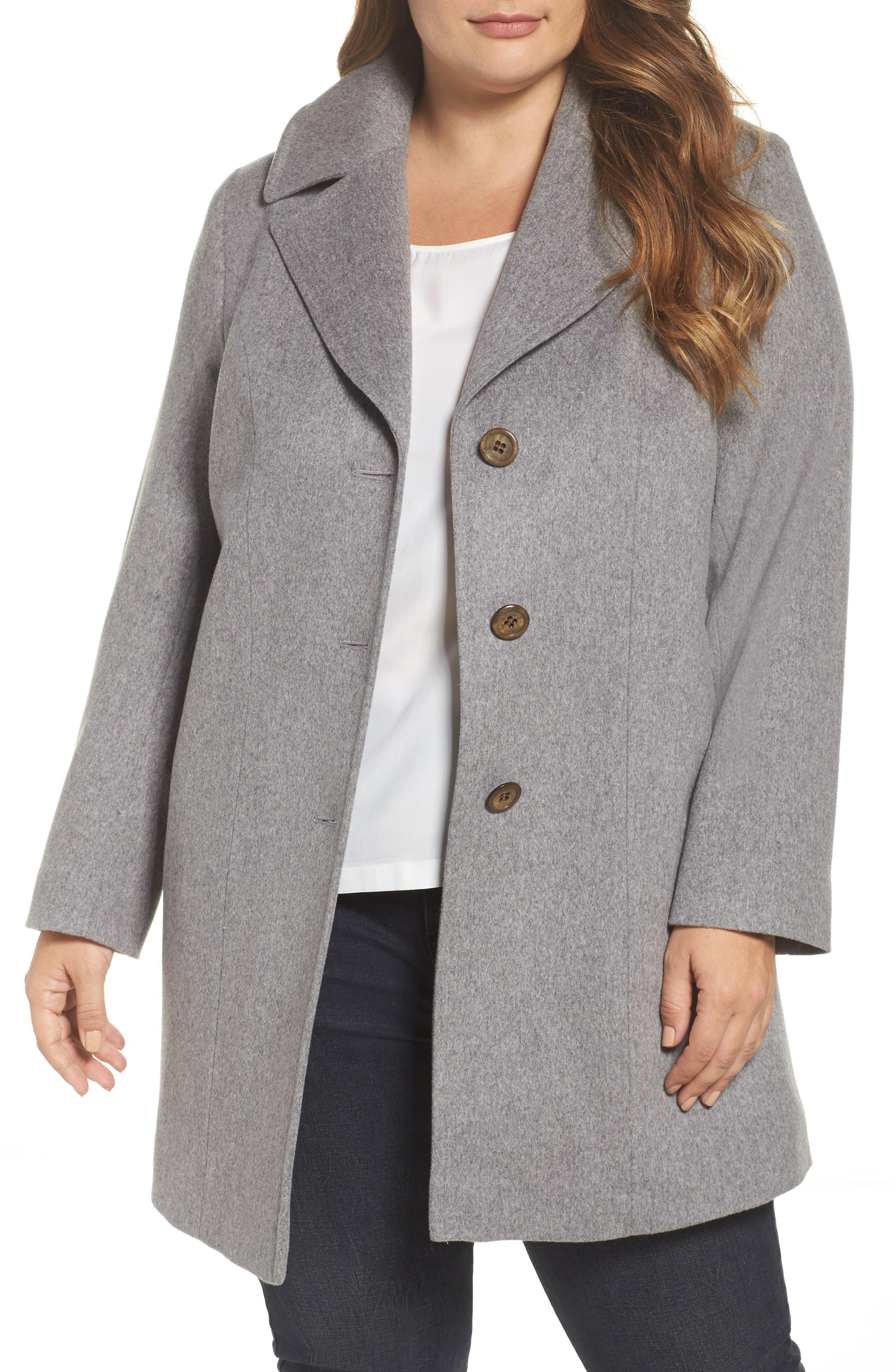 Alternate Image 1 Selected - Fleurette Wool Walking Coat (Plus Size)