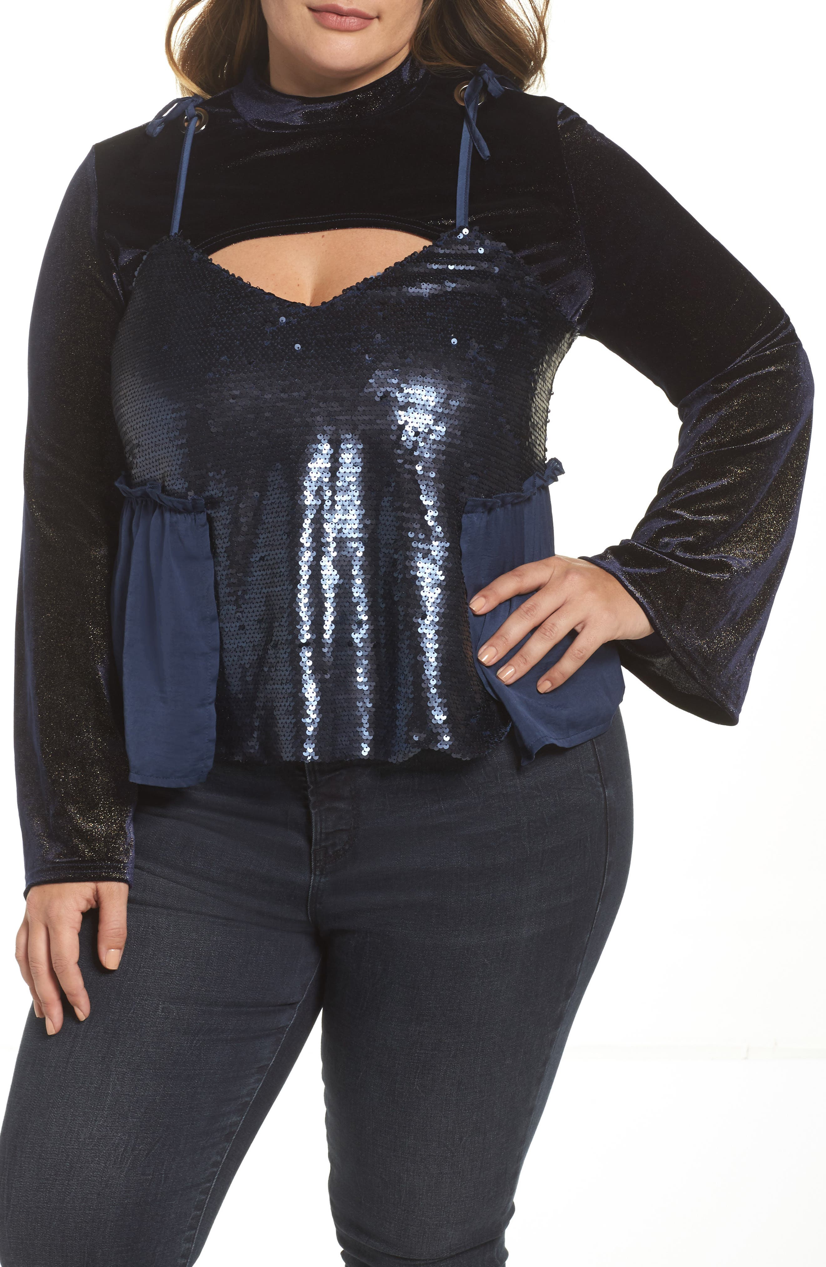 Bell Sleeve Velvet Top with Sequin Cami,                         Main,                         color, Navy