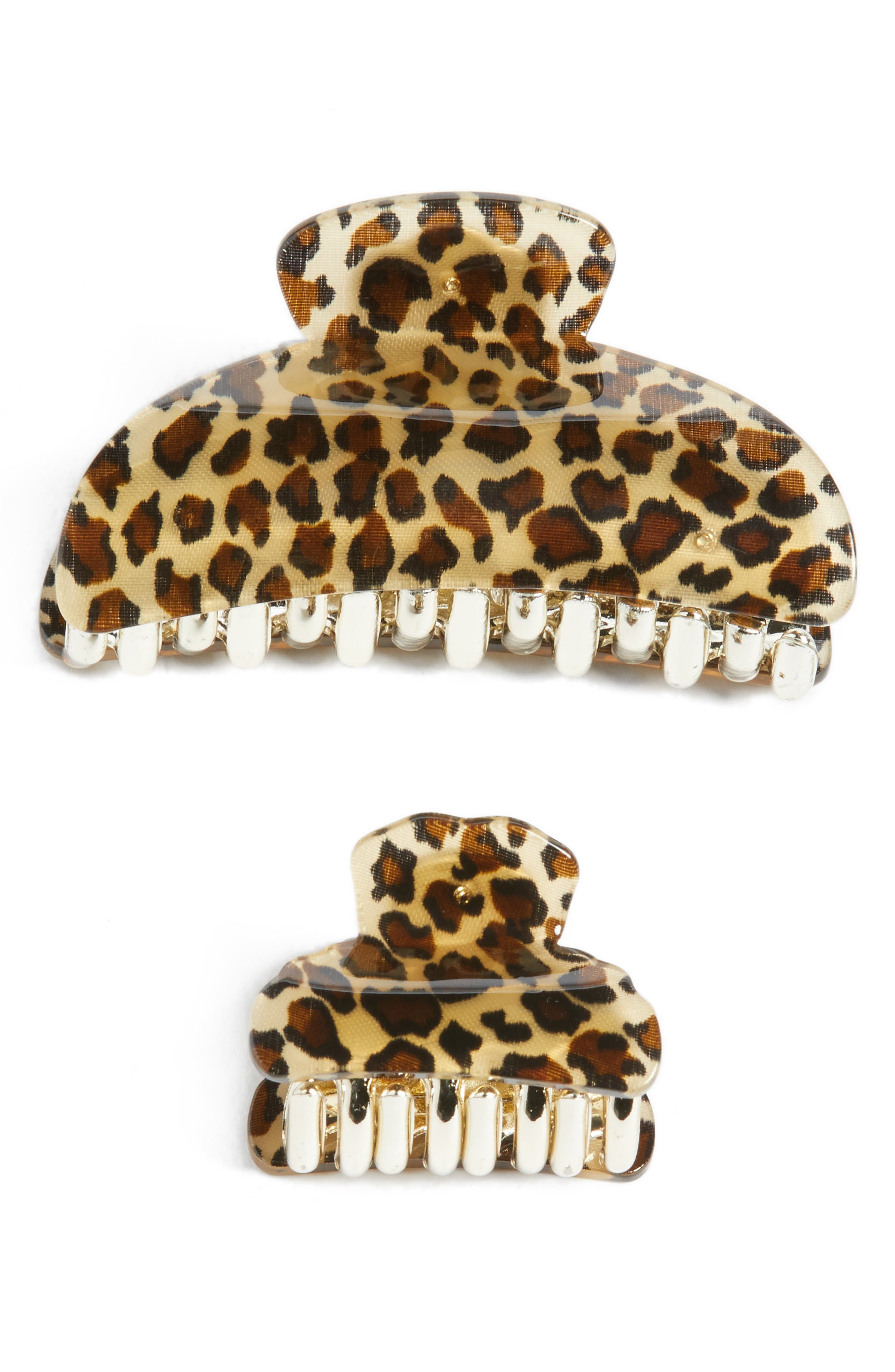 Set of 2 Leo Jaw Clips,                         Main,                         color, Leopard