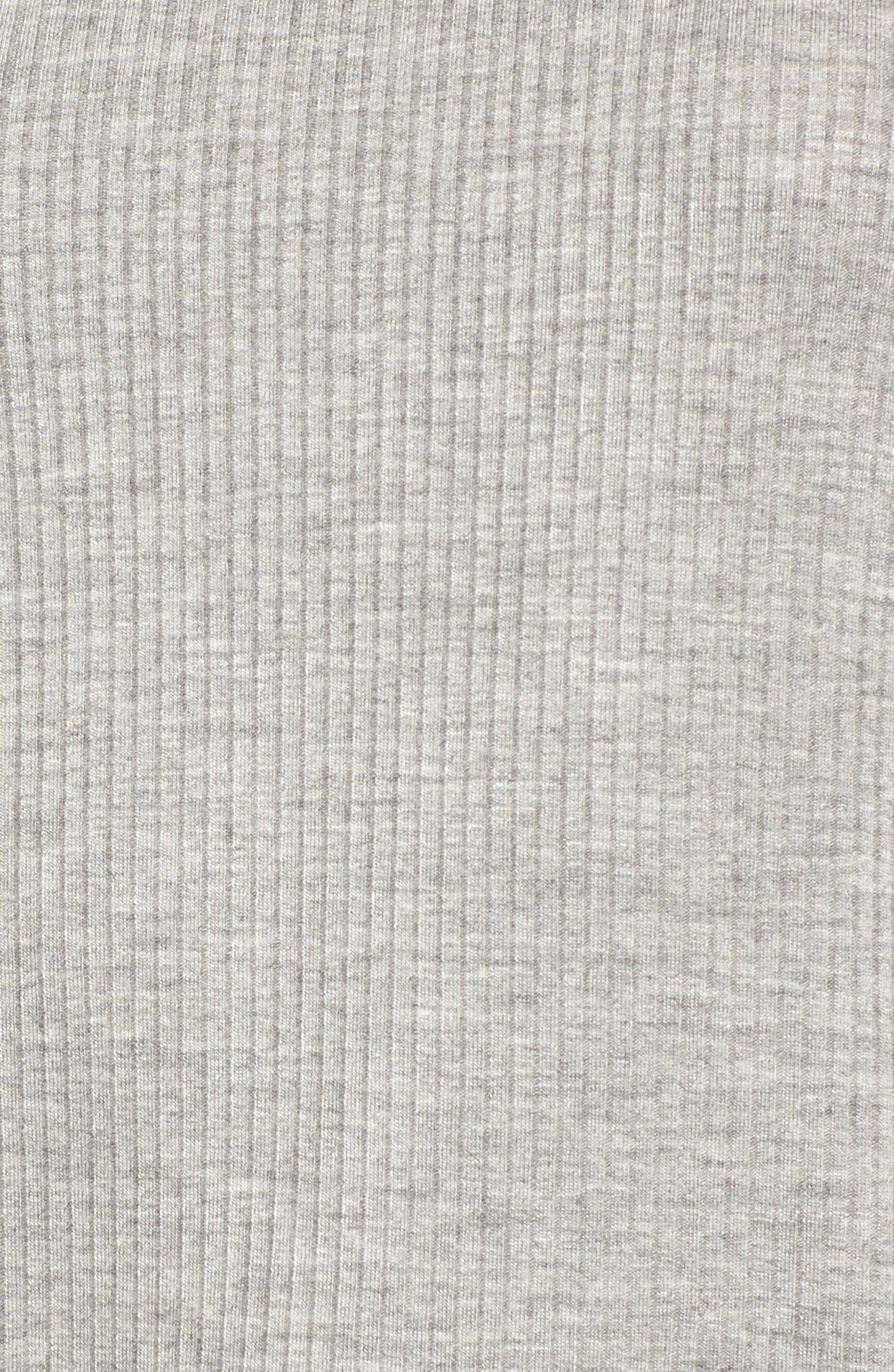 Ruffle Sleeve Ribbed Sweater,                             Alternate thumbnail 5, color,                             Grey Medium Heather