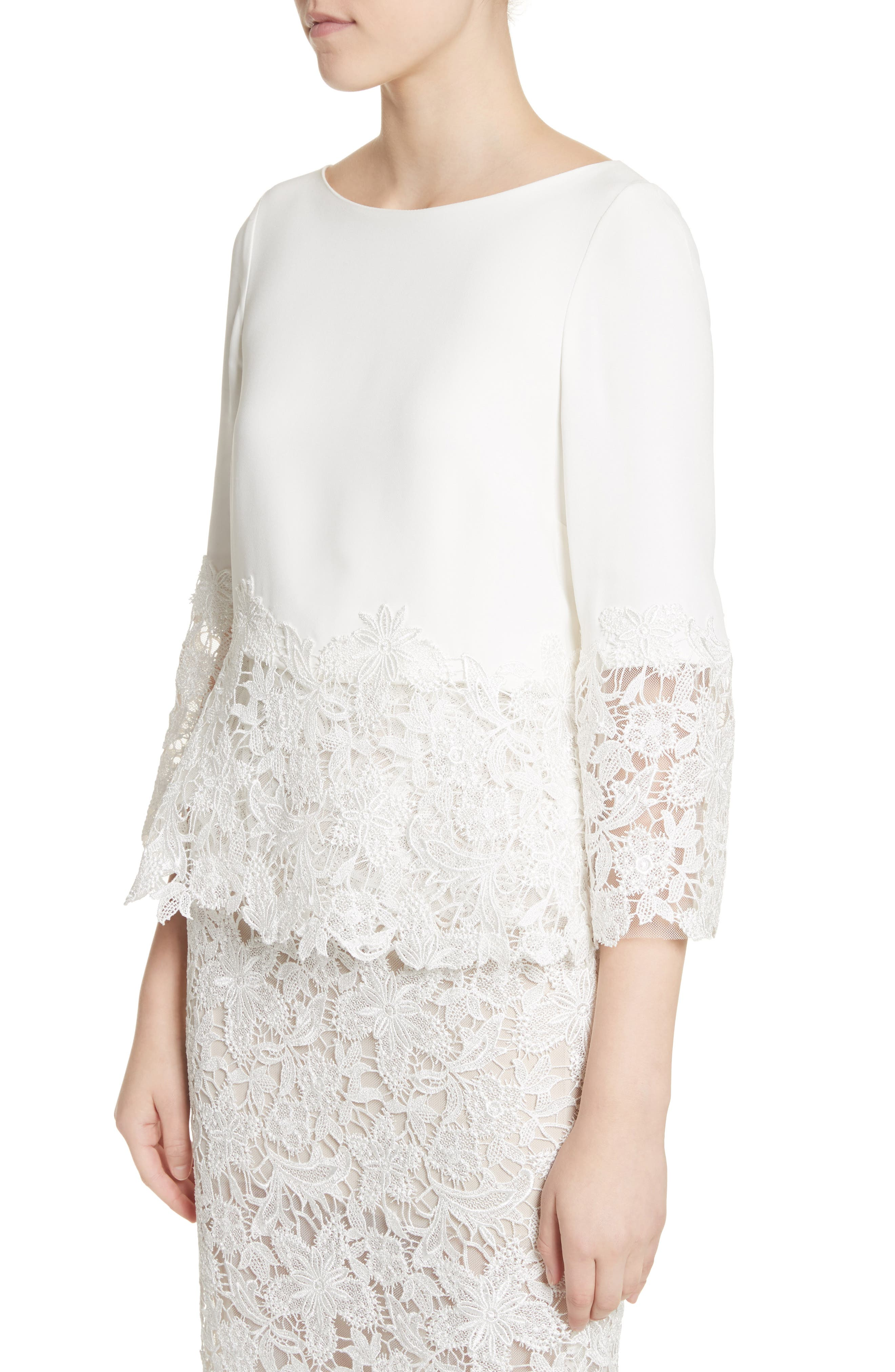 Crepe & Lace Top & Pencil Skirt,                             Alternate thumbnail 4, color,                             Silk White