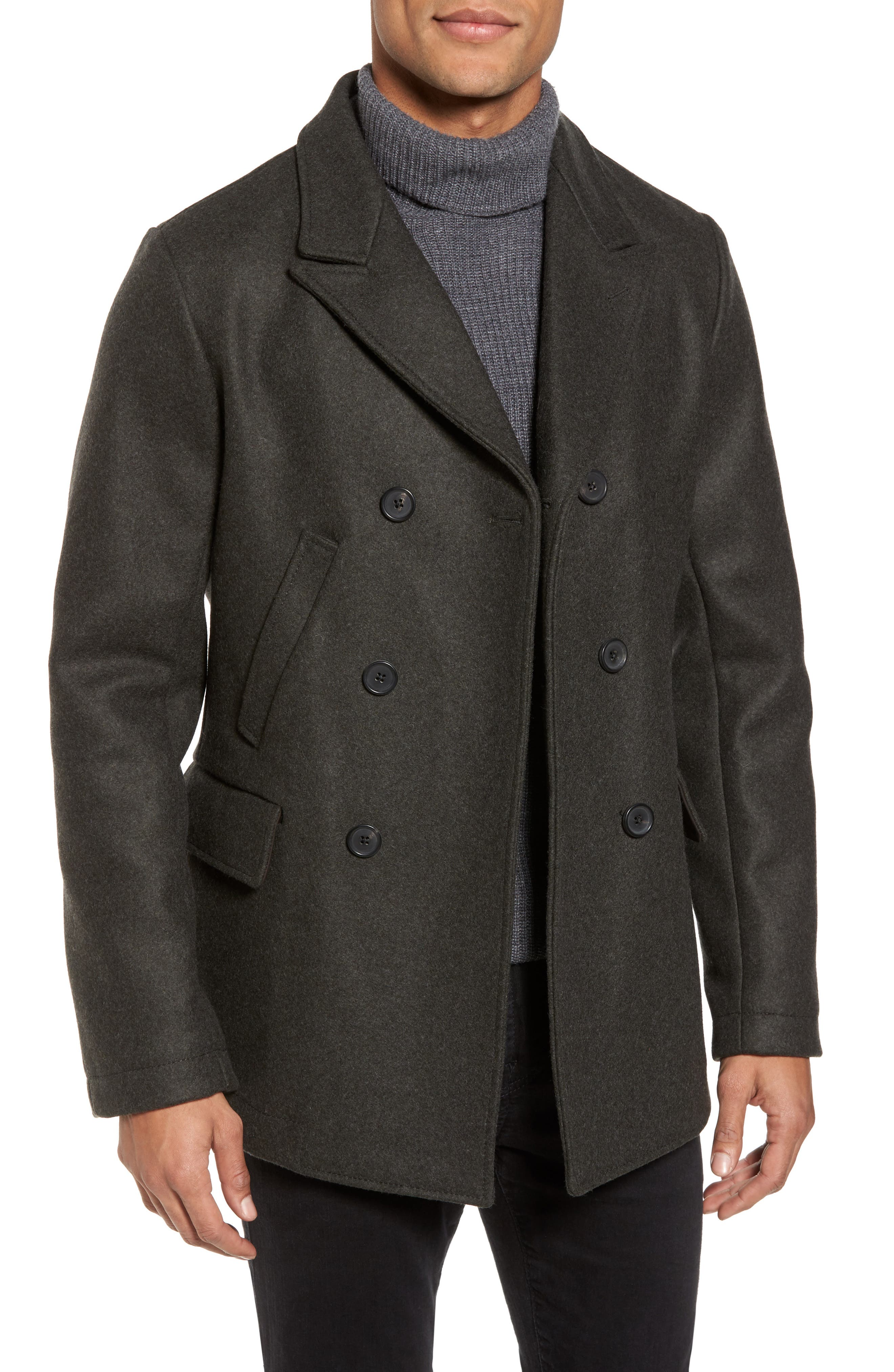 Main Image - Billy Reid 'Bond' Wool Blend Peacoat