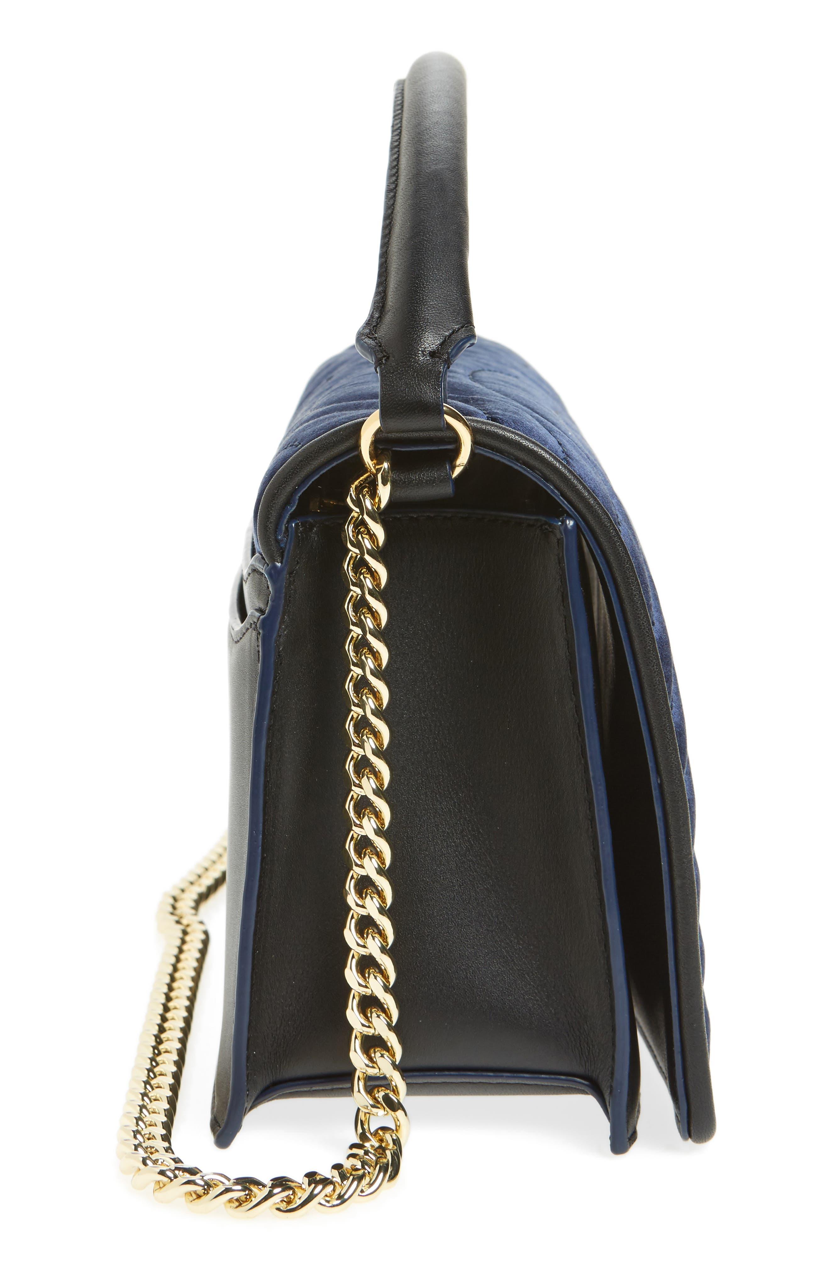 Bonne Soirée Quilted Top Handle Bag,                             Alternate thumbnail 5, color,                             Navy