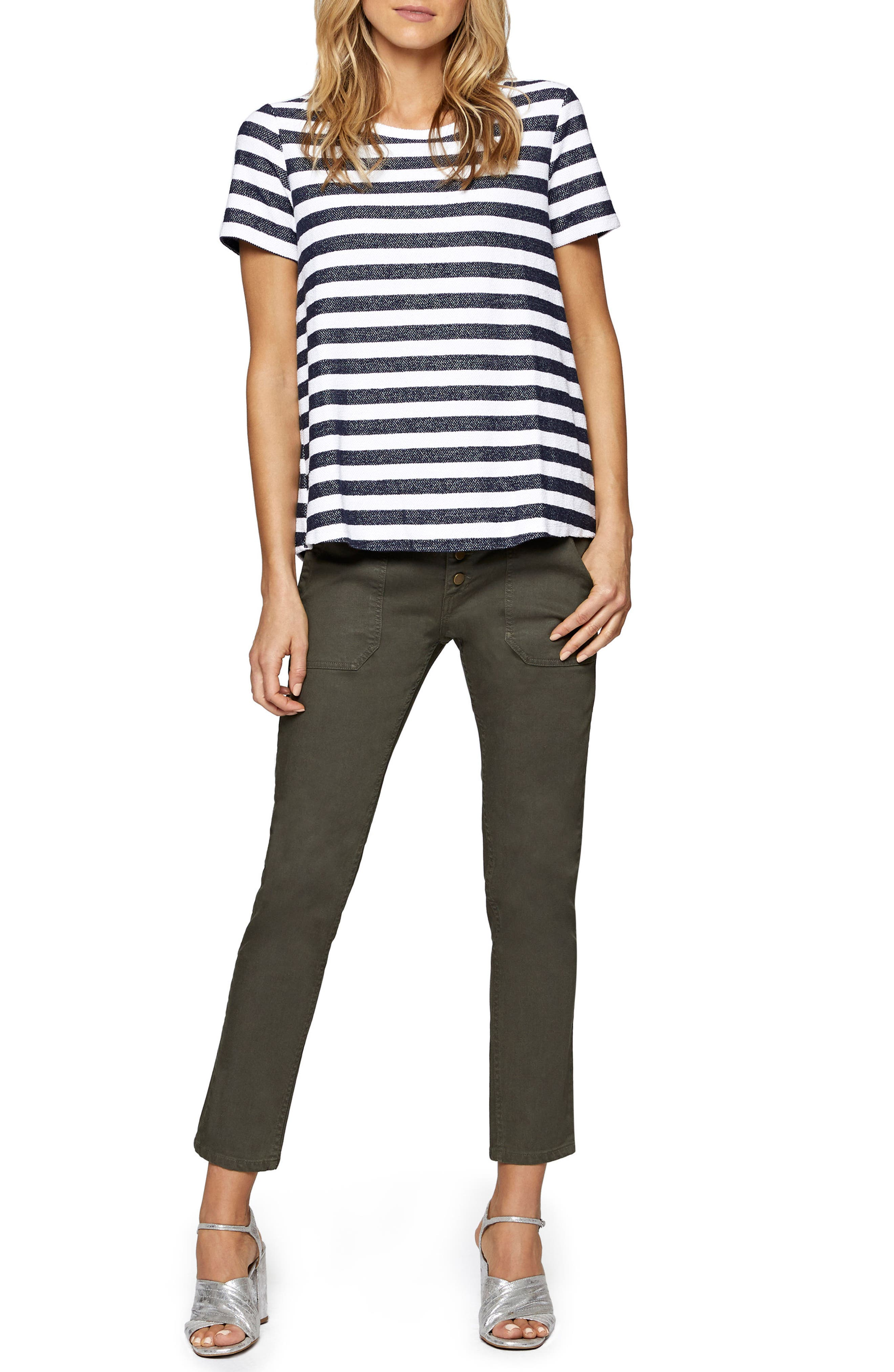 Francesca Back Inset Stripe Tee,                             Alternate thumbnail 3, color,                             Heritage Navy/ Milk