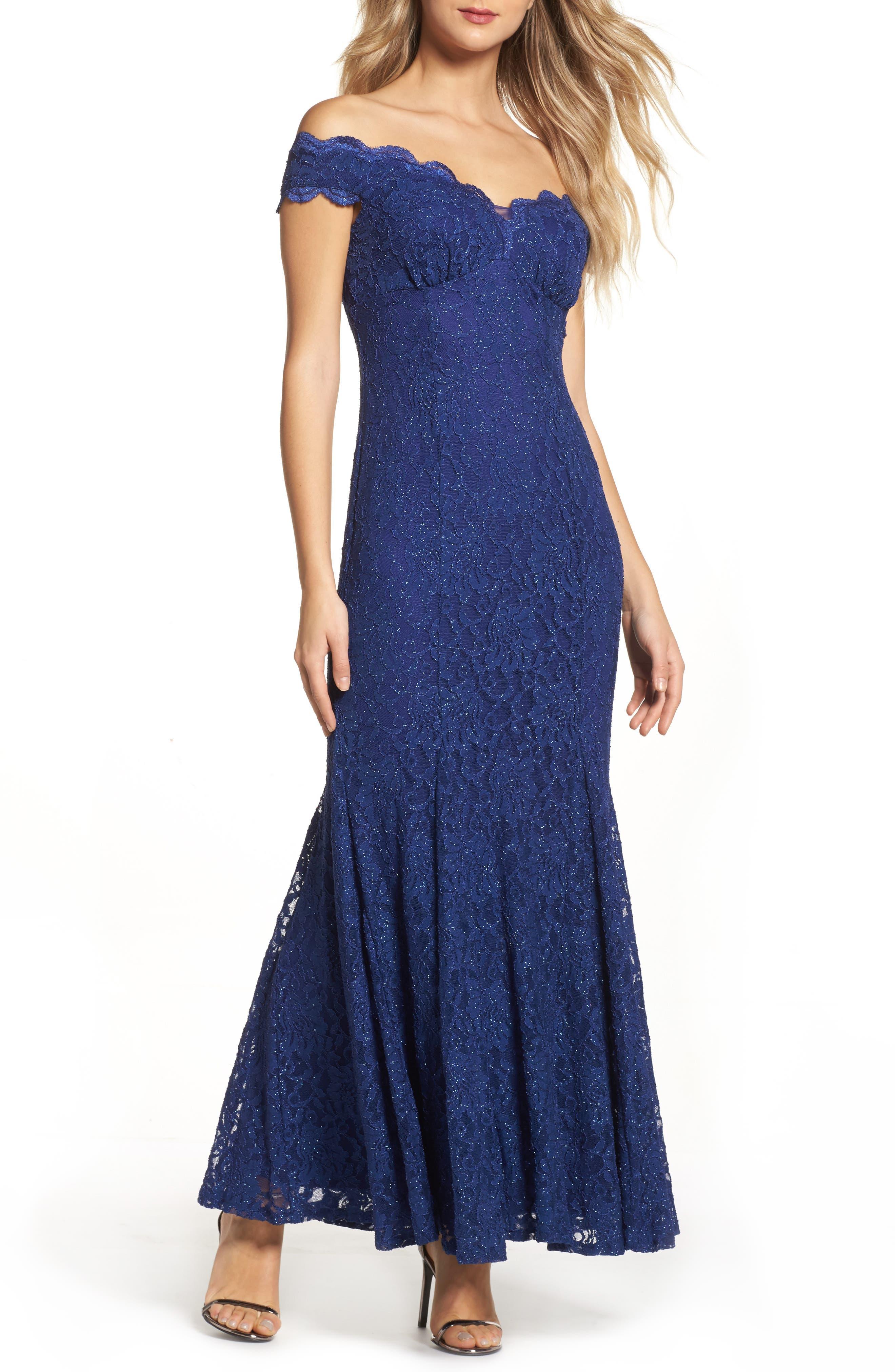 Scallop Off the Shoulder Lace Gown,                         Main,                         color, Indigo