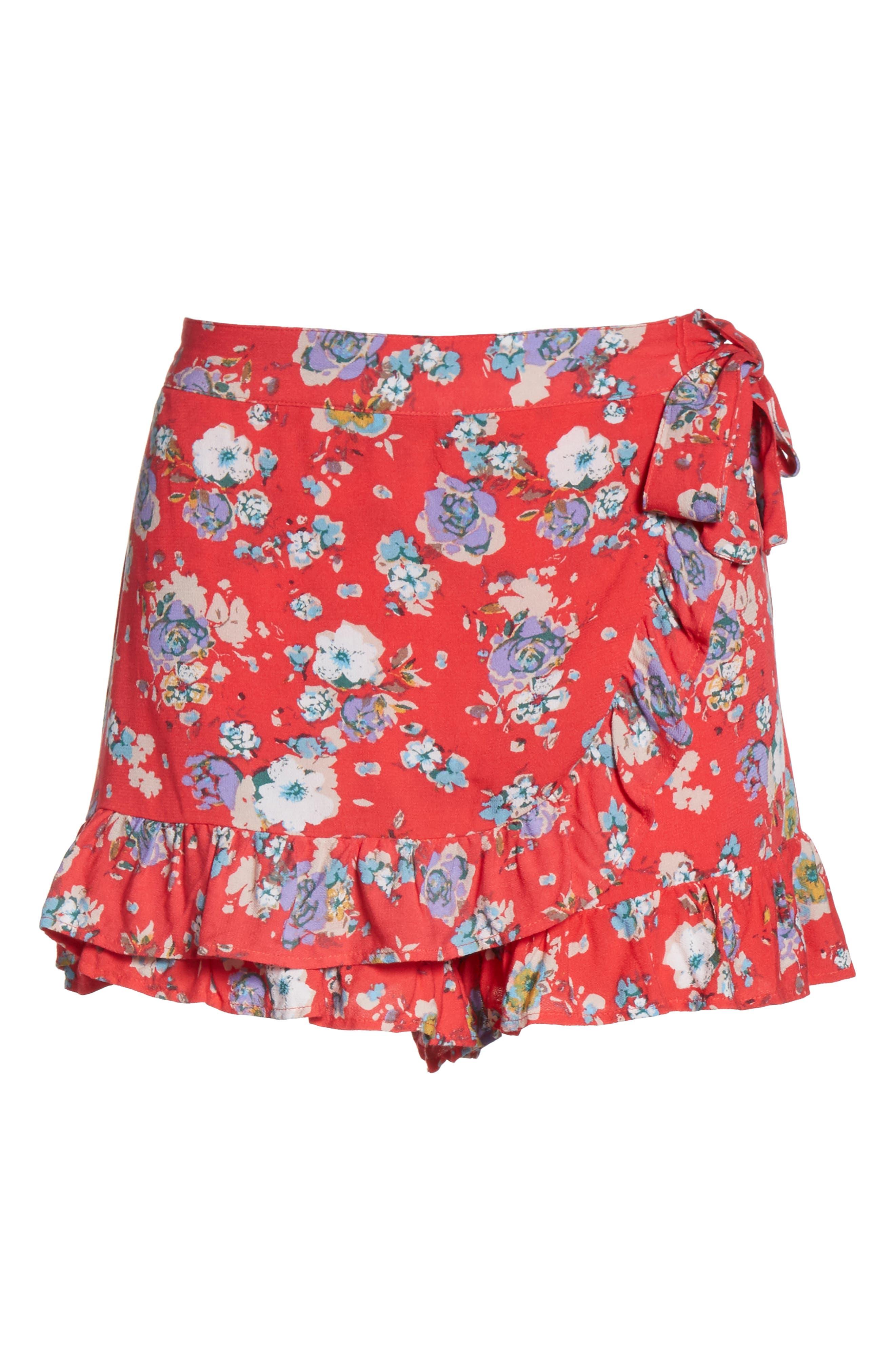 Flirting Fleurs Mini Skort,                             Alternate thumbnail 6, color,                             Red
