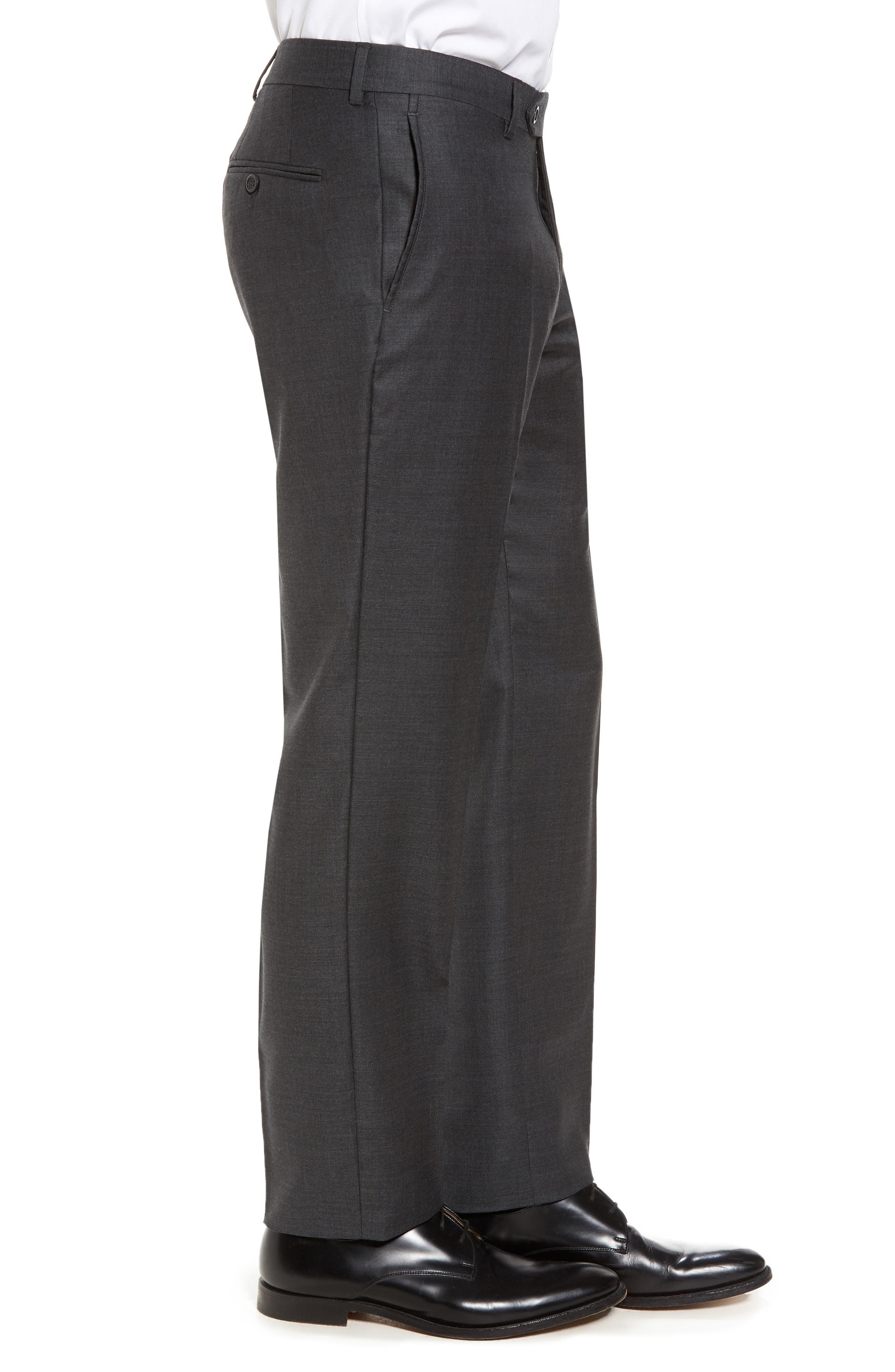 Flat Front Sharkskin Wool Trousers,                             Alternate thumbnail 3, color,                             Charcoal