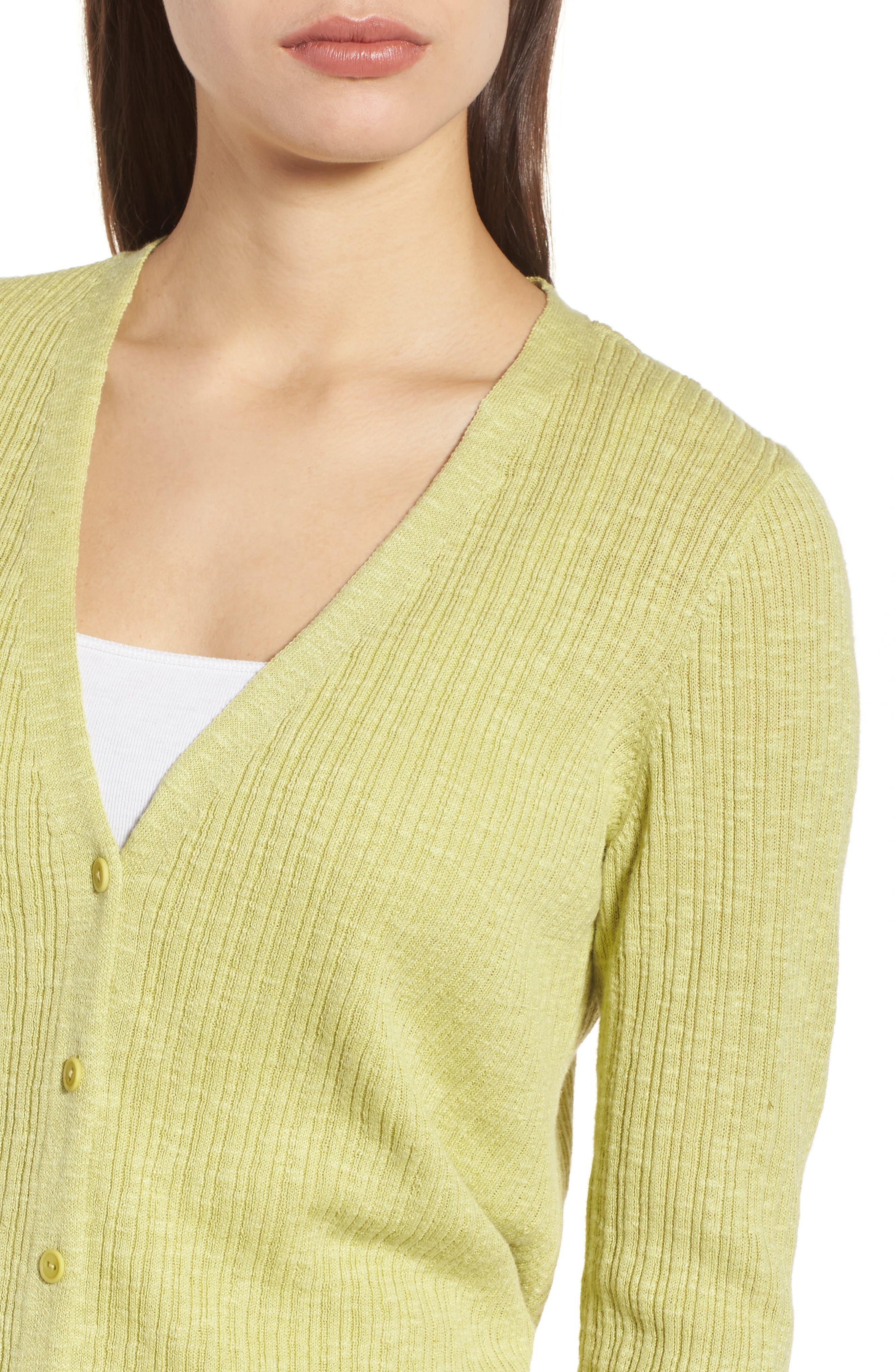 V-Neck Organic Linen & Cotton Cardigan,                             Alternate thumbnail 4, color,                             Verbena