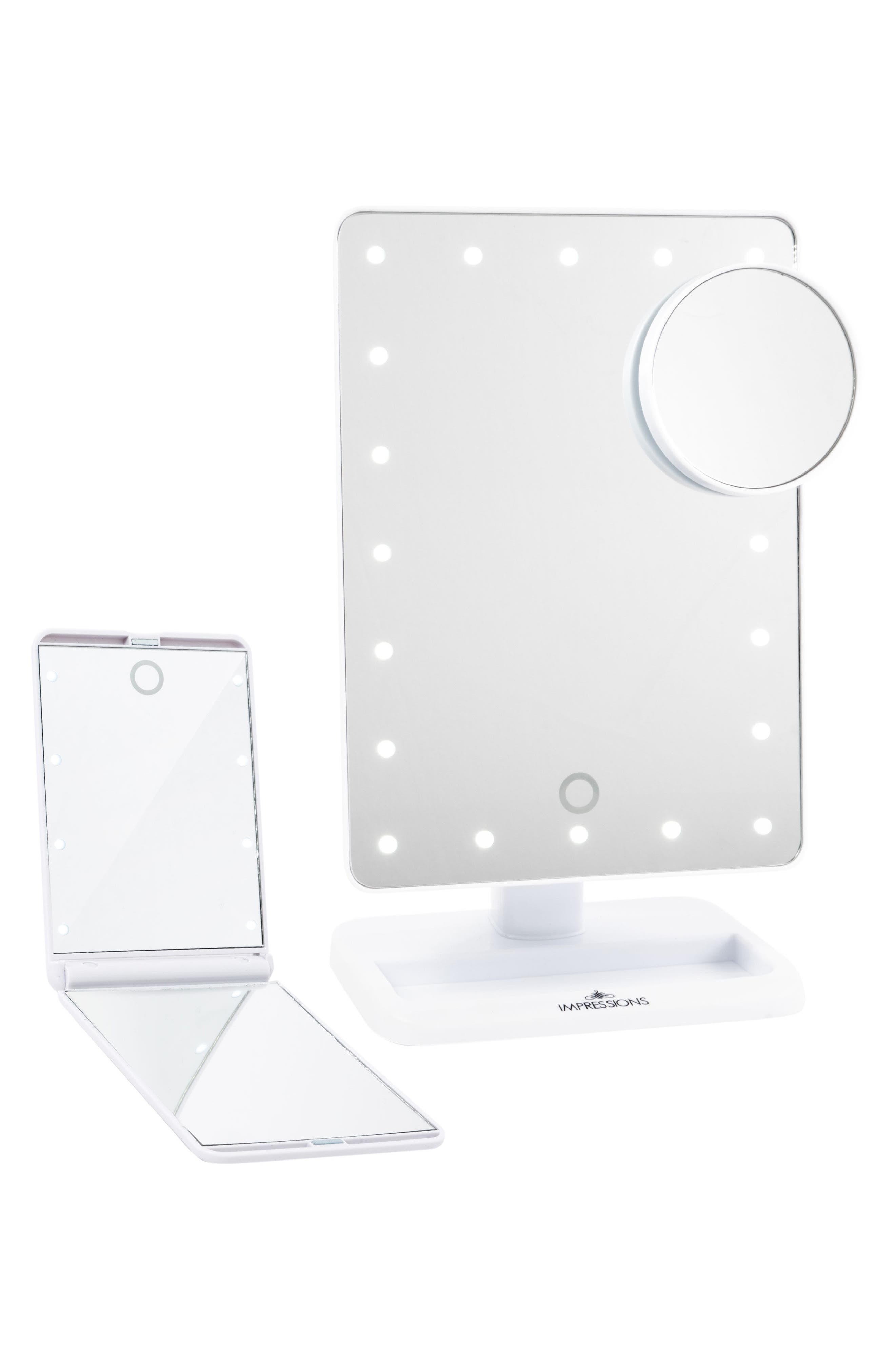 Touch XL Dimmable LED Makeup Mirror with Removable 5x Mirror & Compact Mirror,                         Main,                         color, White