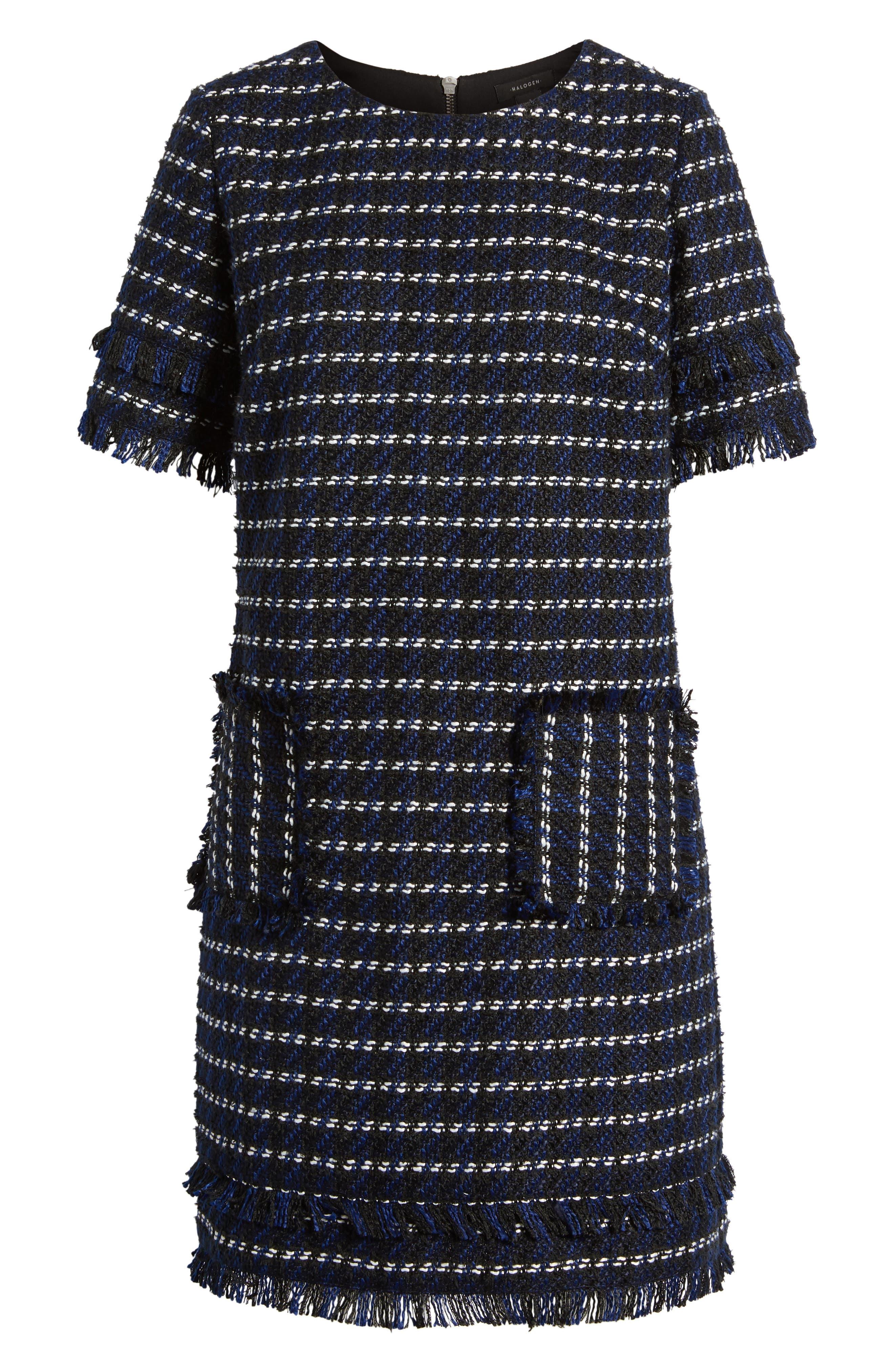 Fringe Tweed Dress,                             Alternate thumbnail 6, color,                             Black- Navy Tweed