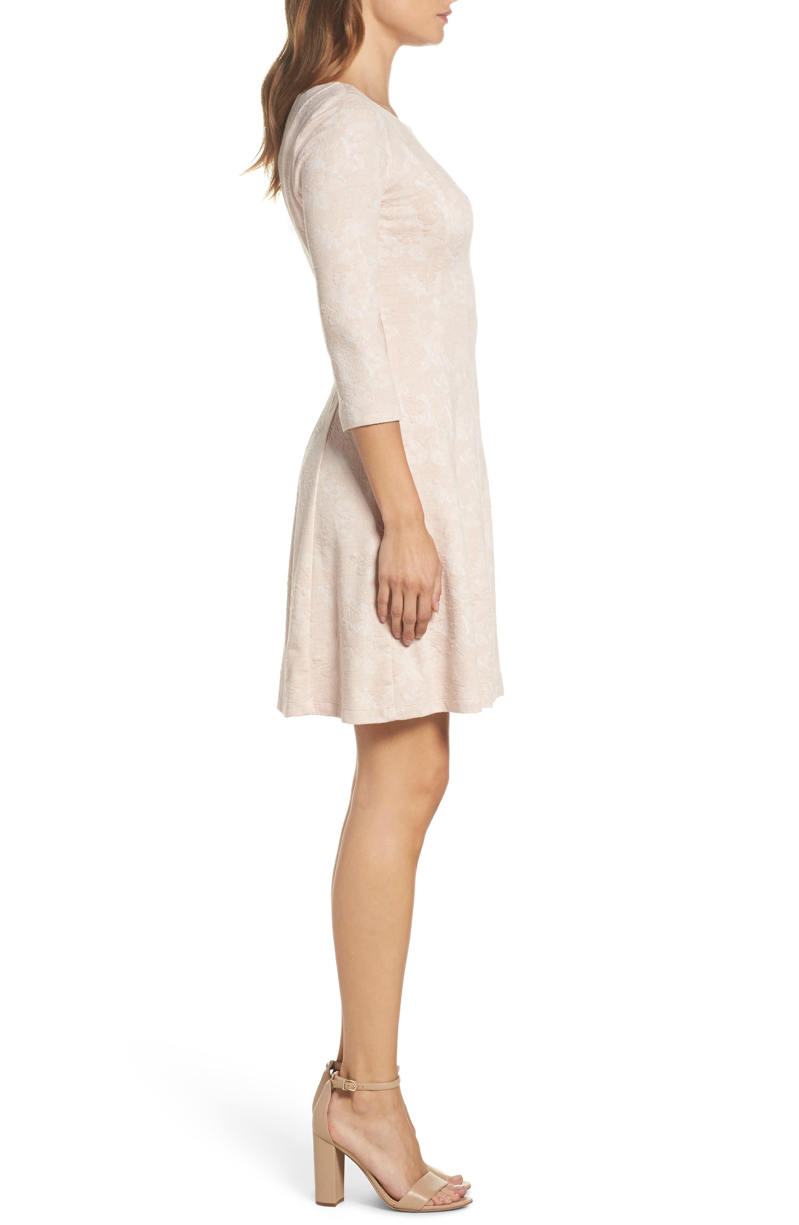 Jacquard Knit Fit & Flare Dress,                             Alternate thumbnail 3, color,                             Blush