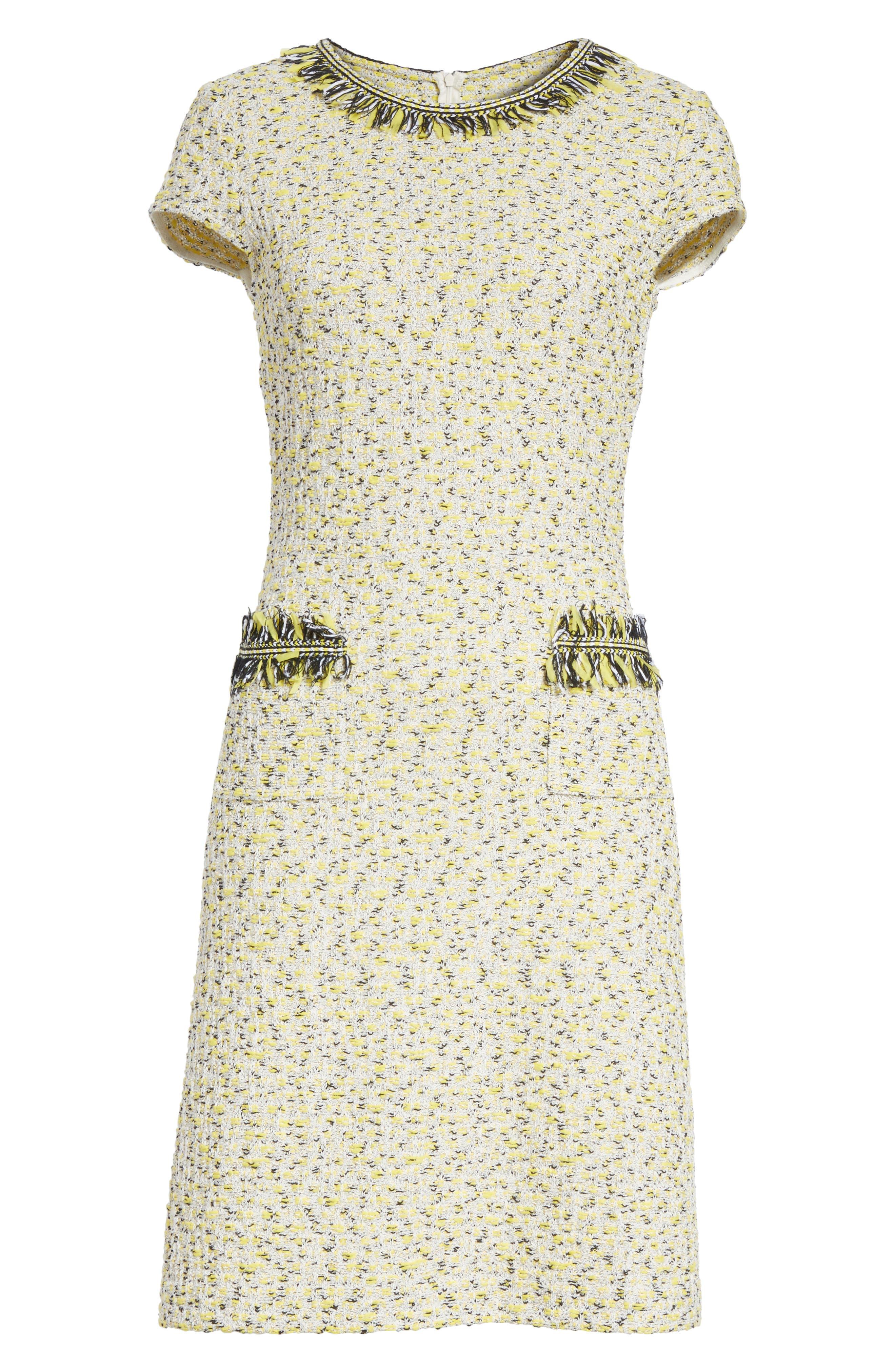 Romee Tweed Dress,                             Alternate thumbnail 7, color,                             Citron Multi
