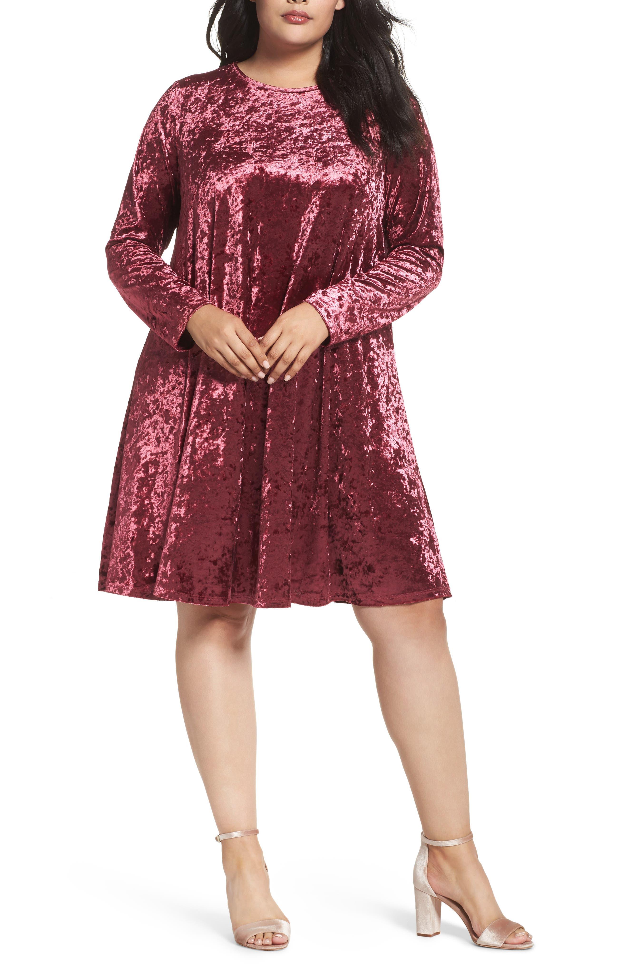 Main Image - Glamorous Velvet Shift Dress (Plus Size)