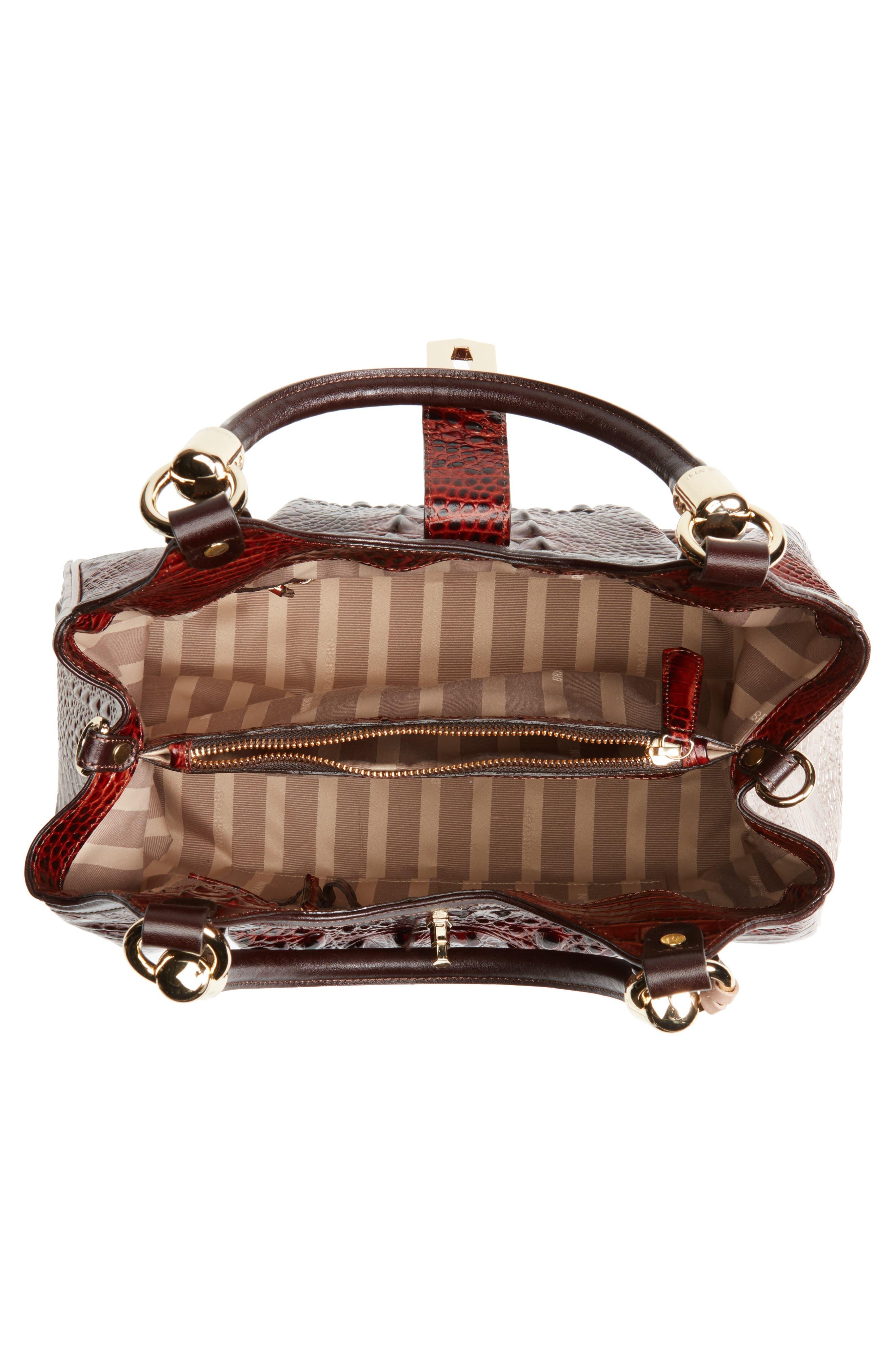 Elisa Croc Embossed Leather Shoulder Bag,                             Alternate thumbnail 4, color,                             Pecan