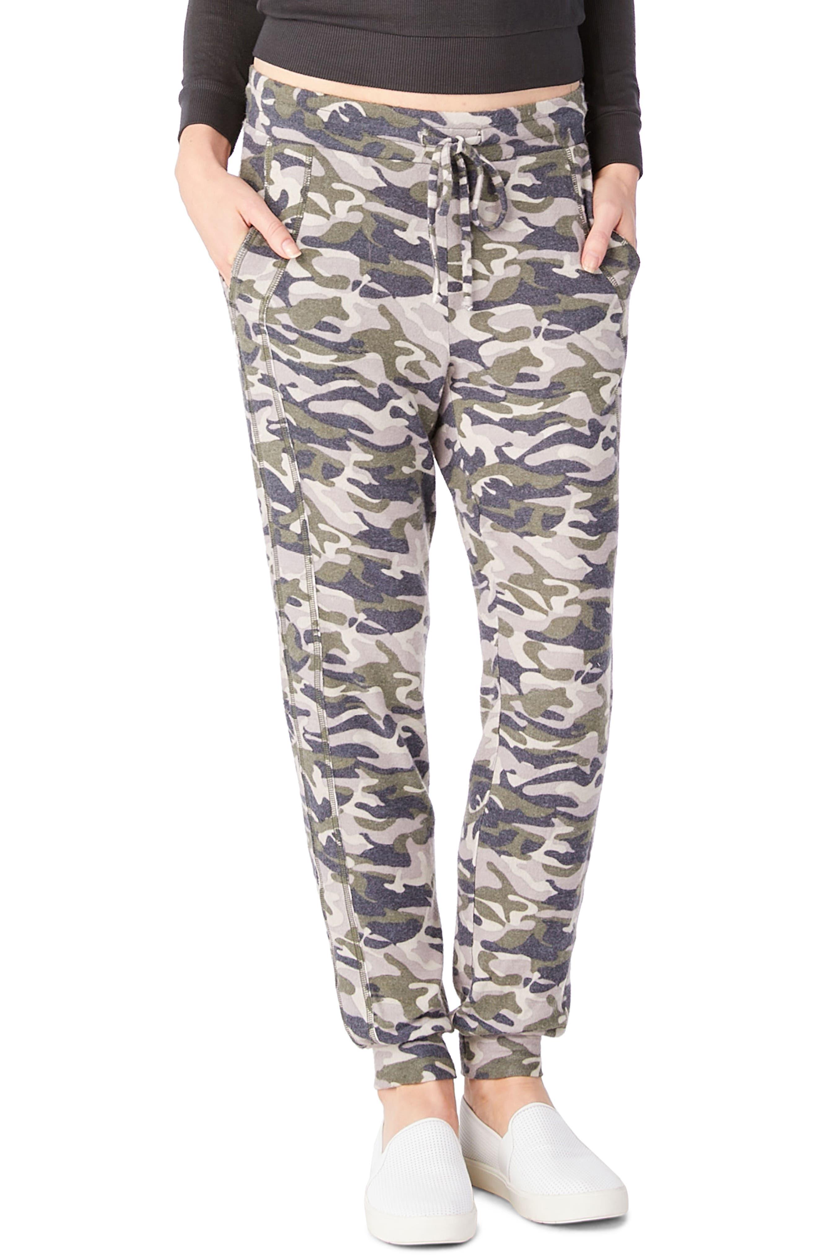 Camo Print Drawstring Pants,                         Main,                         color, Loden