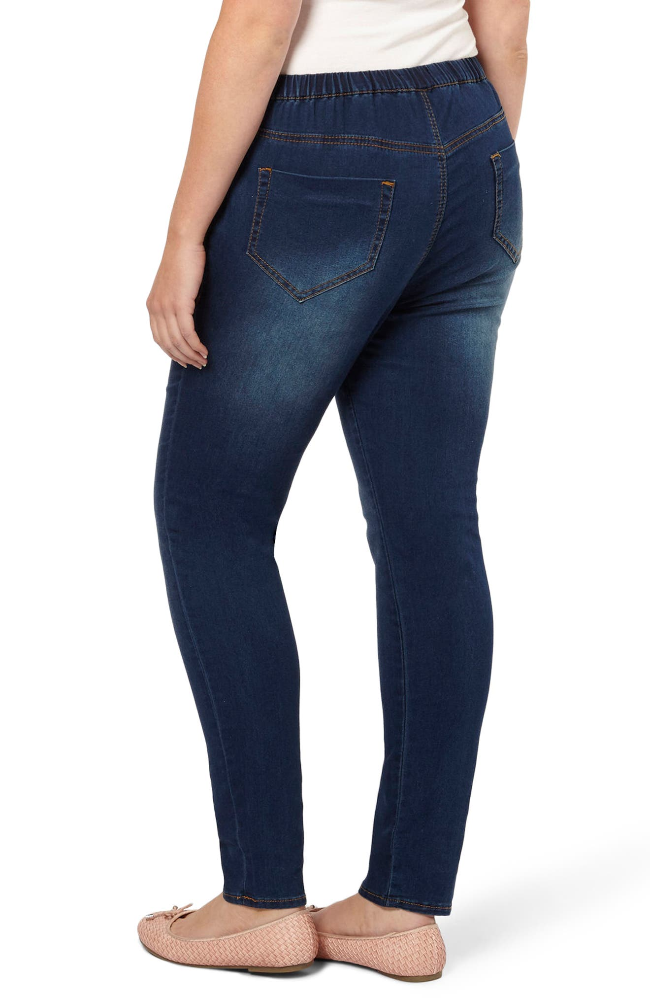 Denim Leggings,                             Alternate thumbnail 3, color,                             Mid Wash